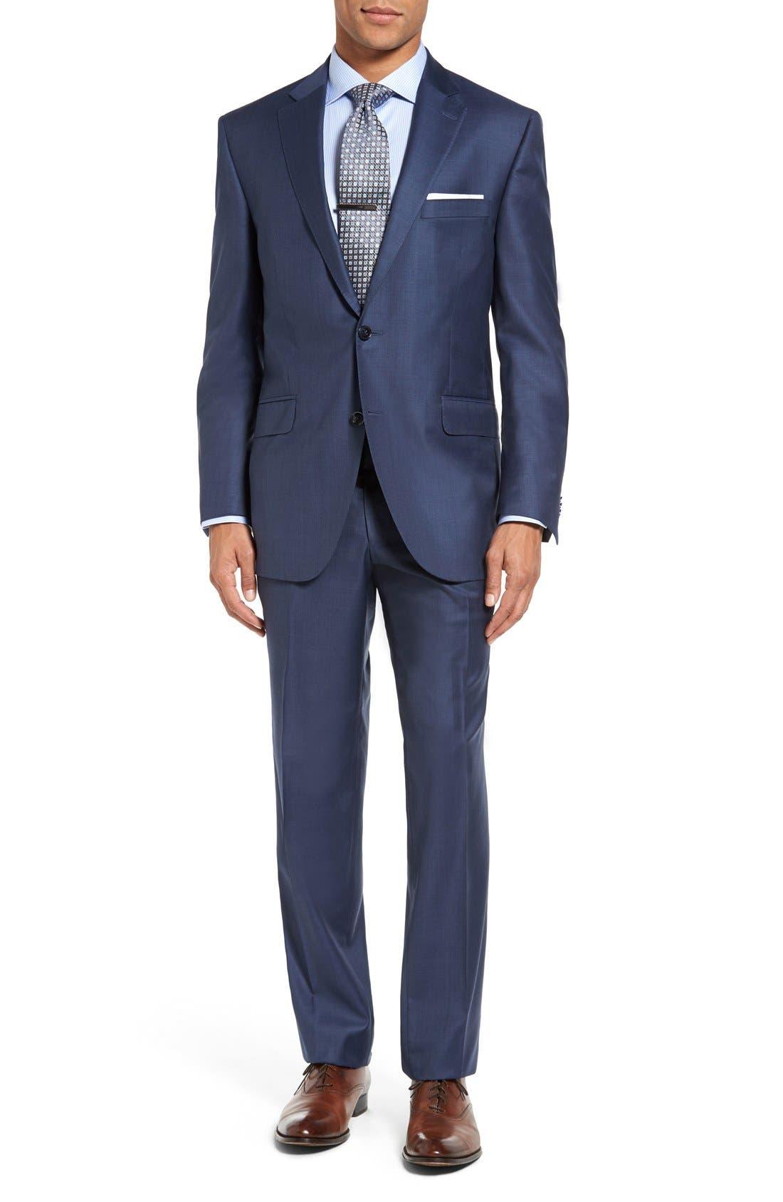 PETER MILLAR, Flynn Classic Fit Wool Suit, Main thumbnail 1, color, BLUE