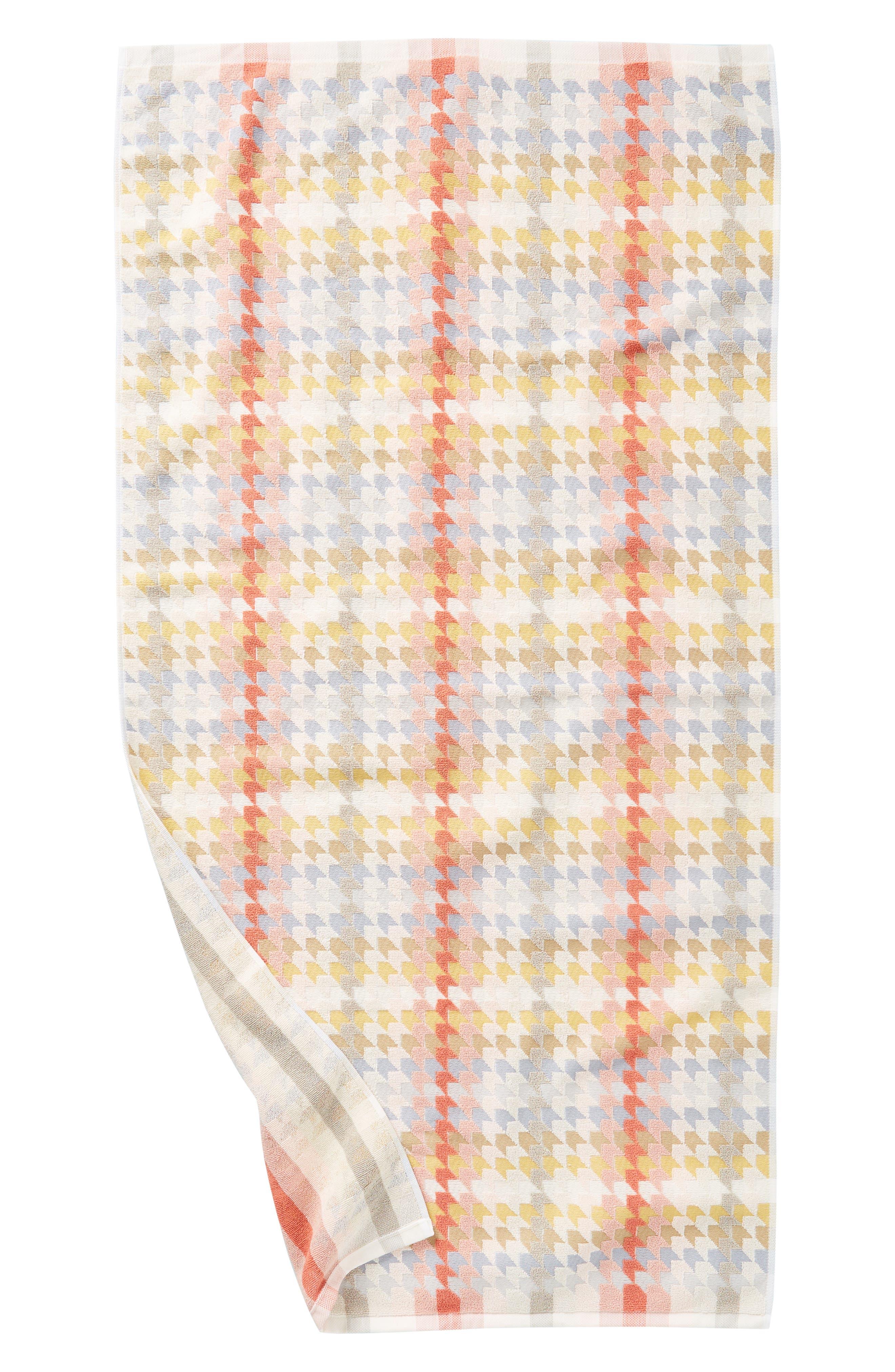 ANTHROPOLOGIE, Noella Bath Towel, Alternate thumbnail 3, color, ORANGE COMBO