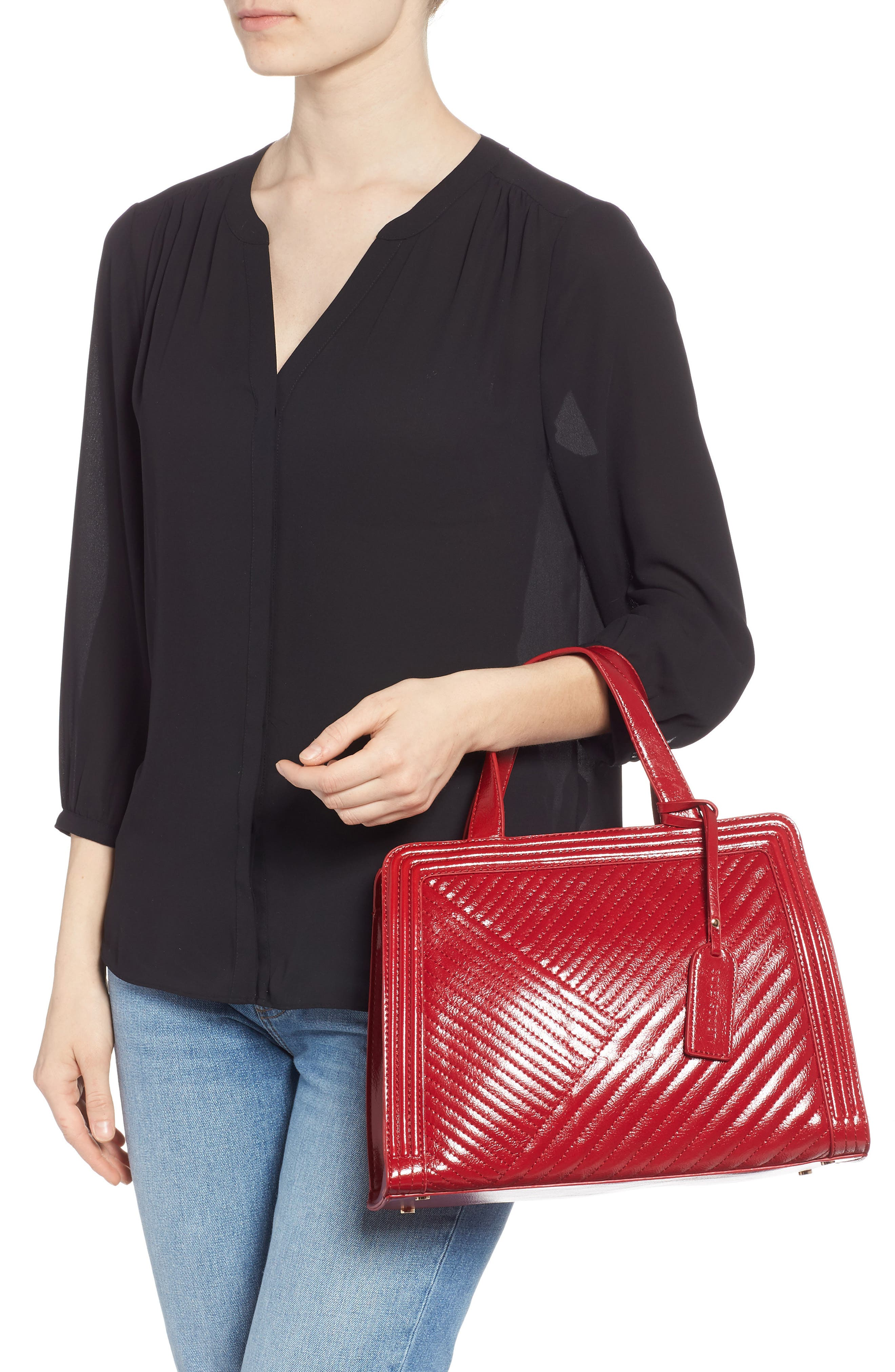 SOLE SOCIETY, Aisln Faux Leather Satchel, Alternate thumbnail 2, color, RED