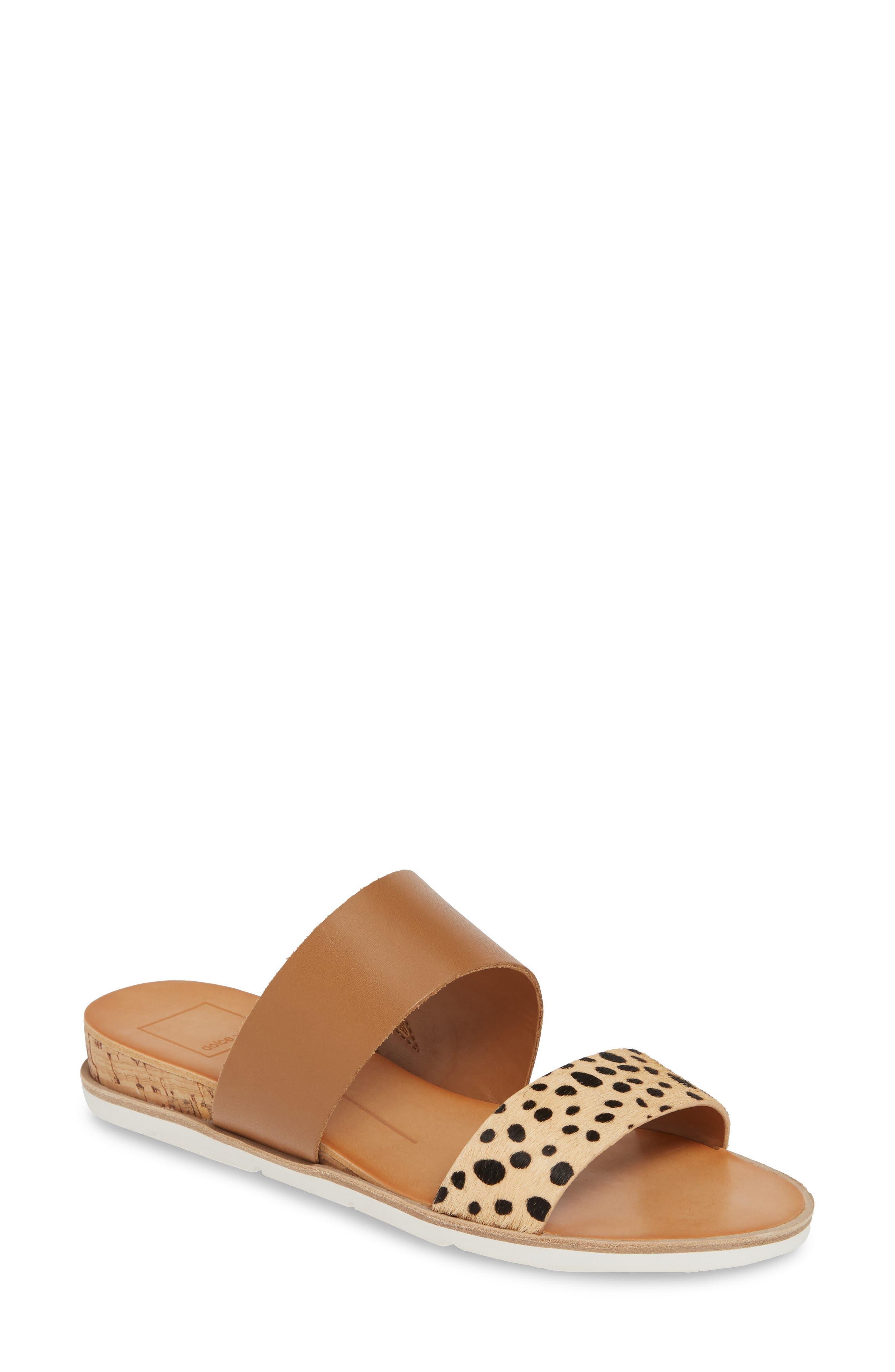 DOLCE VITA Vala Wedge Slide Sandal, Main, color, LEOPARD CALF HAIR