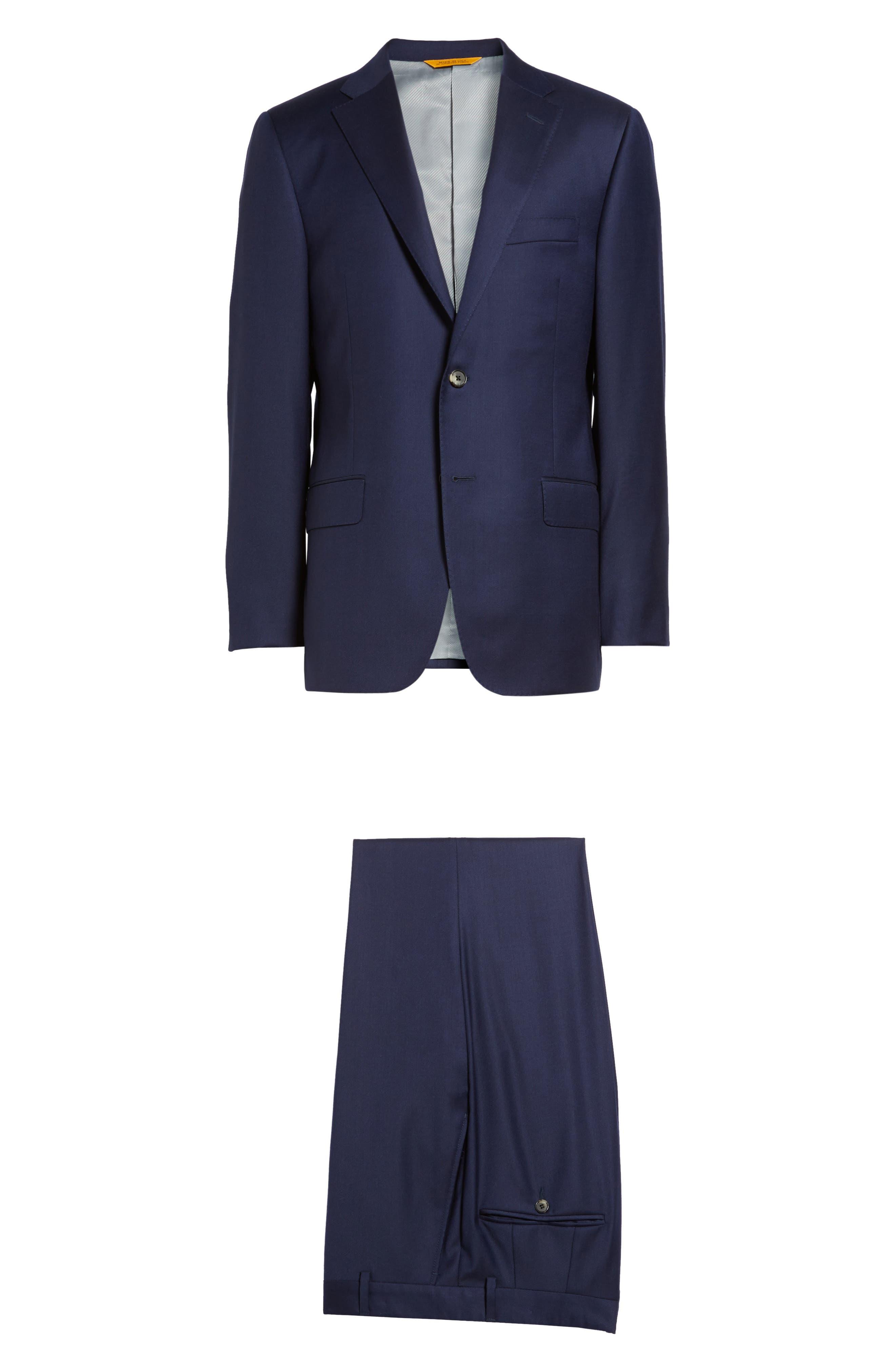 HICKEY FREEMAN, Classic B Fit Loro Piana Wool Suit, Alternate thumbnail 8, color, NAVY