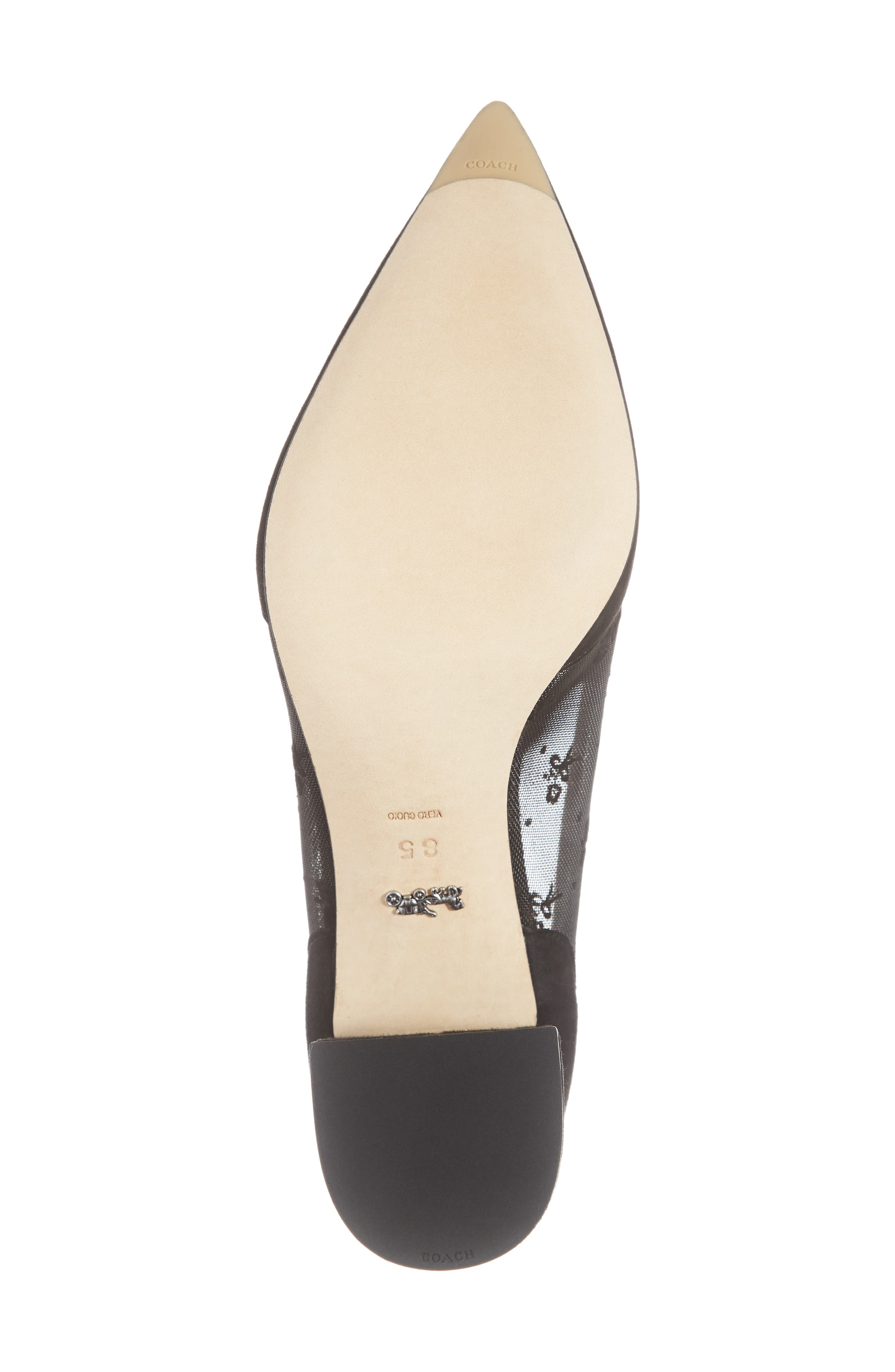 COACH, Whitley Scallop Pointy Toe Pump, Alternate thumbnail 6, color, BLACK SUEDE