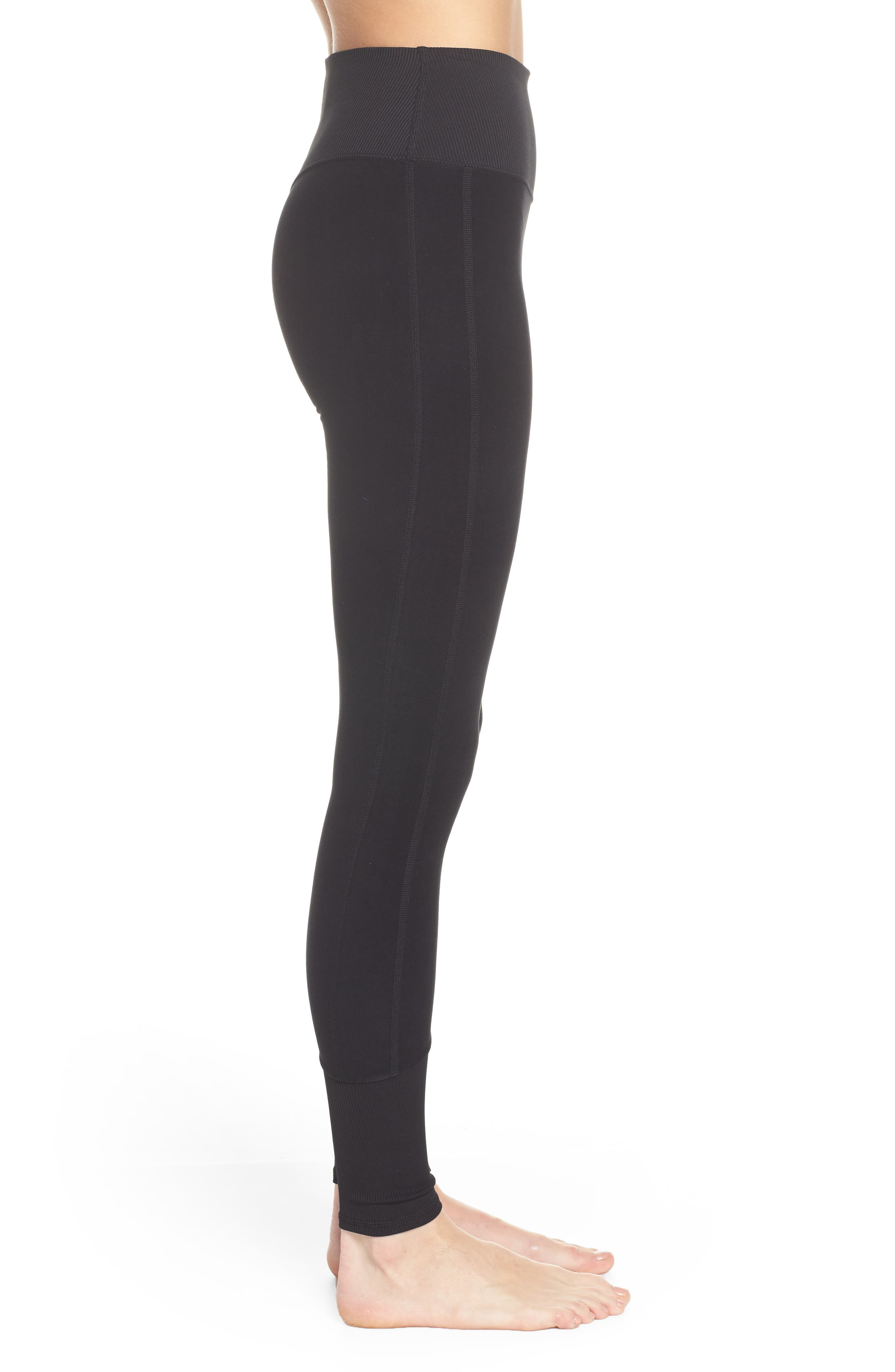 ALO, High Waist Lounge Leggings, Alternate thumbnail 4, color, BLACK