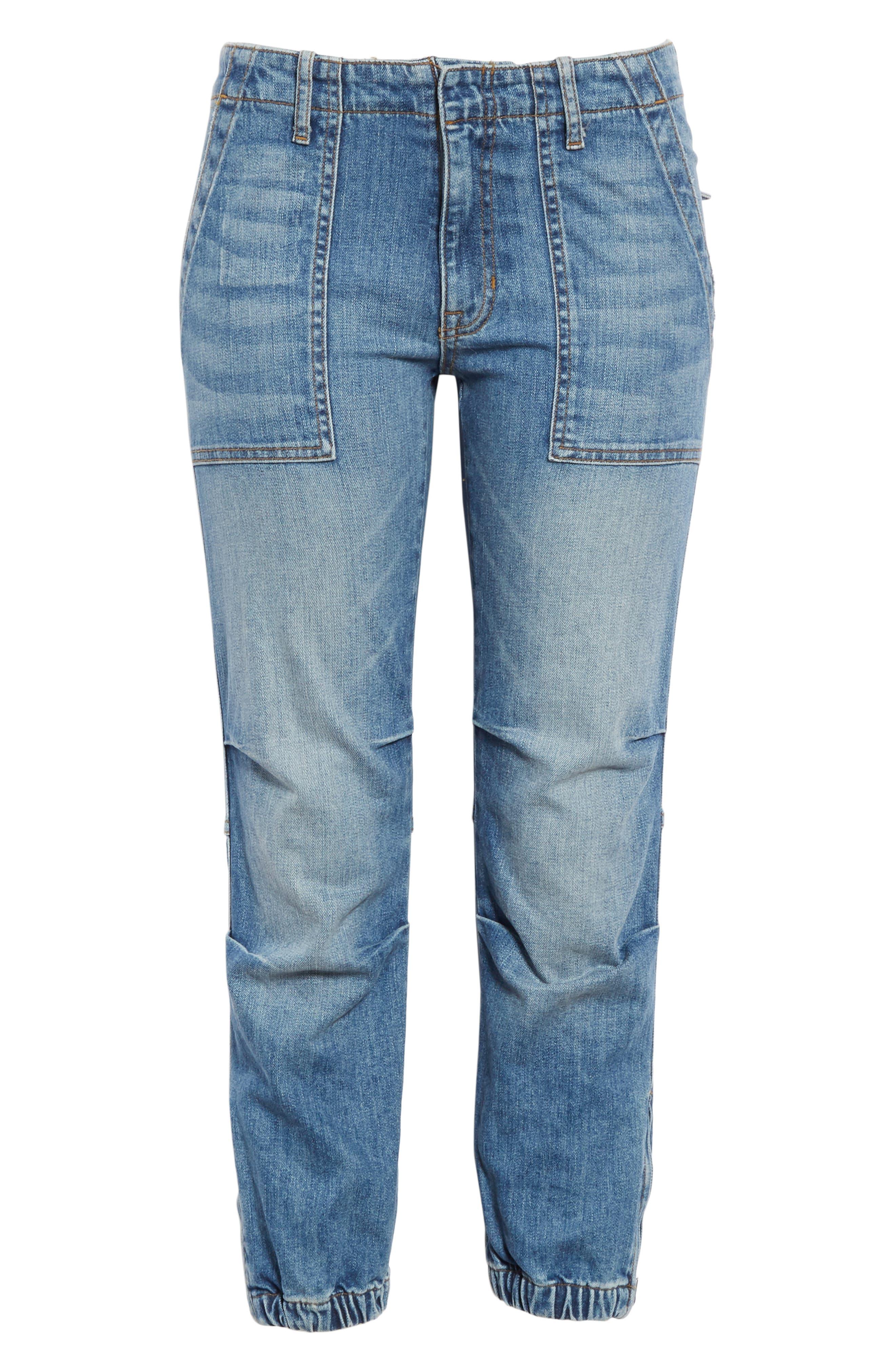 NILI LOTAN, Crop French Military Jeans, Alternate thumbnail 7, color, DUANE WASH