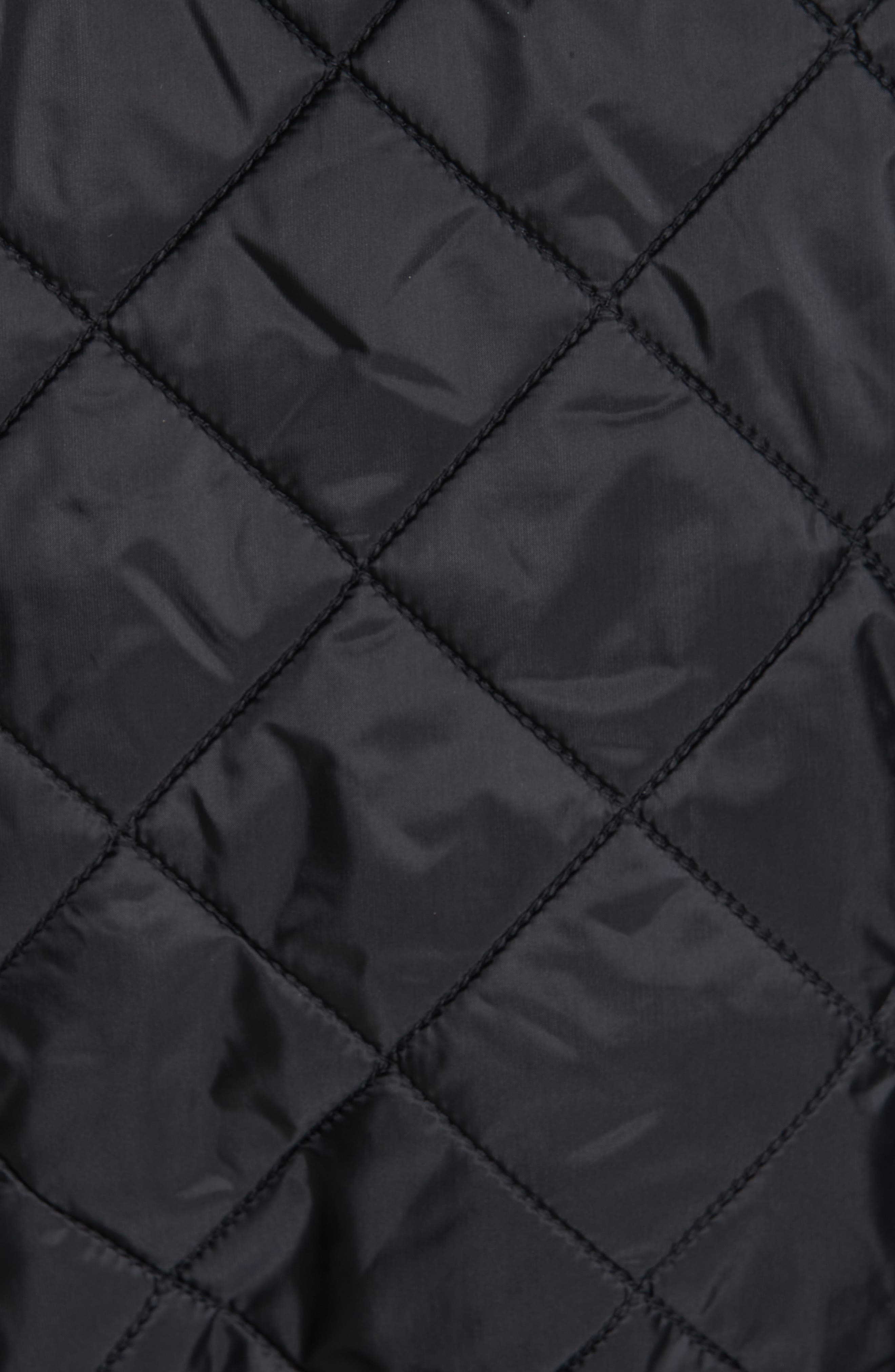BURBERRY, Horberie Quilted Trench Coat, Alternate thumbnail 6, color, BLACK