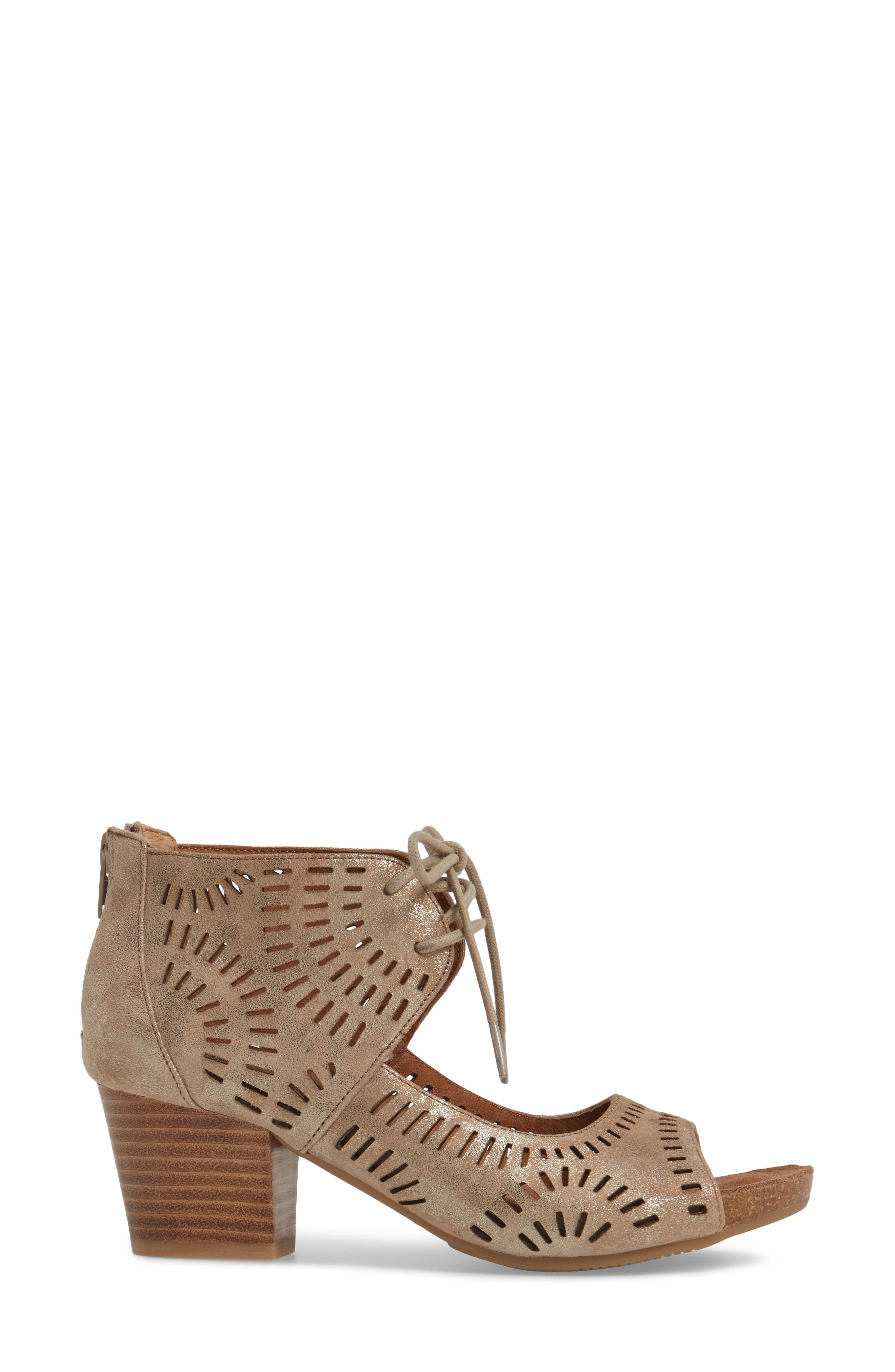 SÖFFT, Modesto Perforated Sandal, Alternate thumbnail 3, color, ANTHRACITE DISTRESSED FOIL