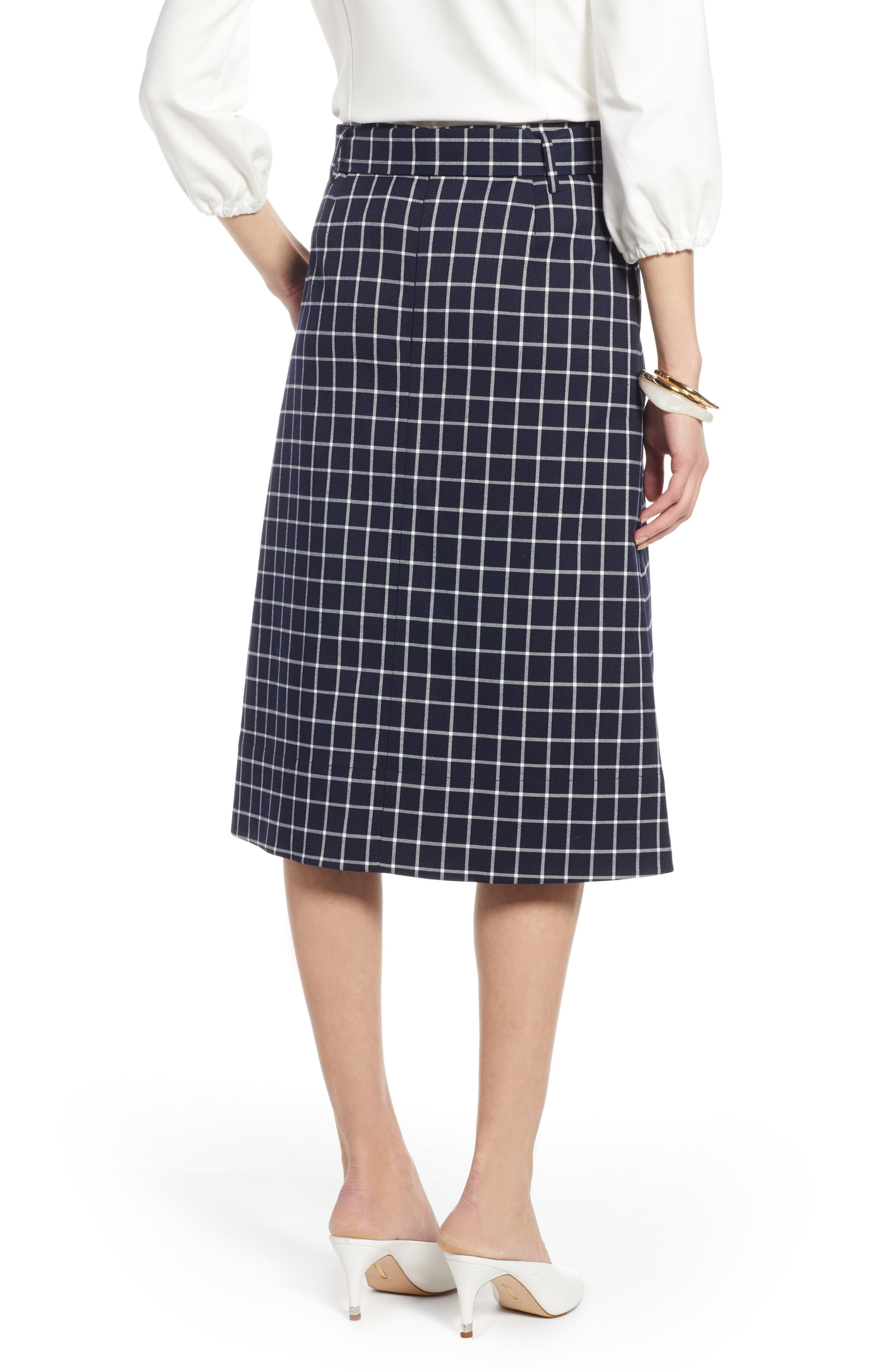 HALOGEN<SUP>®</SUP>, Tie Waist Check Skirt, Alternate thumbnail 2, color, NAVY CHECK