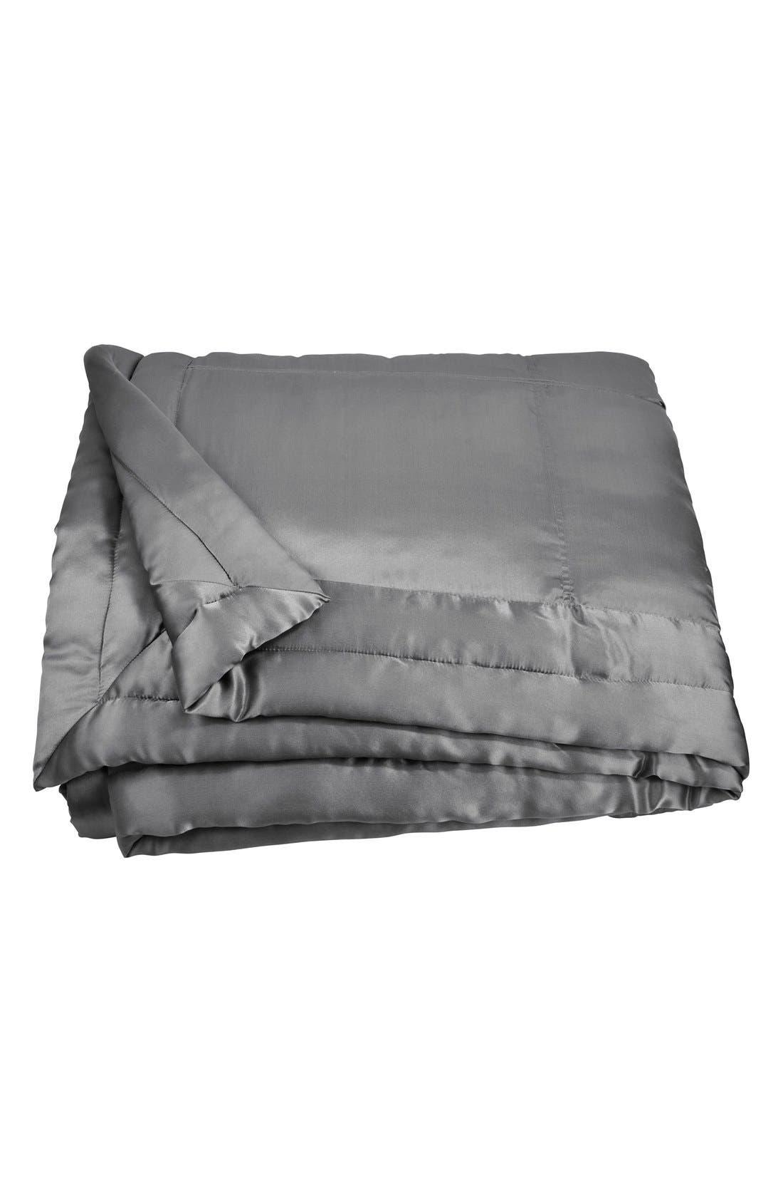 DONNA KARAN NEW YORK, Donna Karan Collection 'Surface' Silk Charmeuse Quilt, Alternate thumbnail 2, color, CHARCOAL