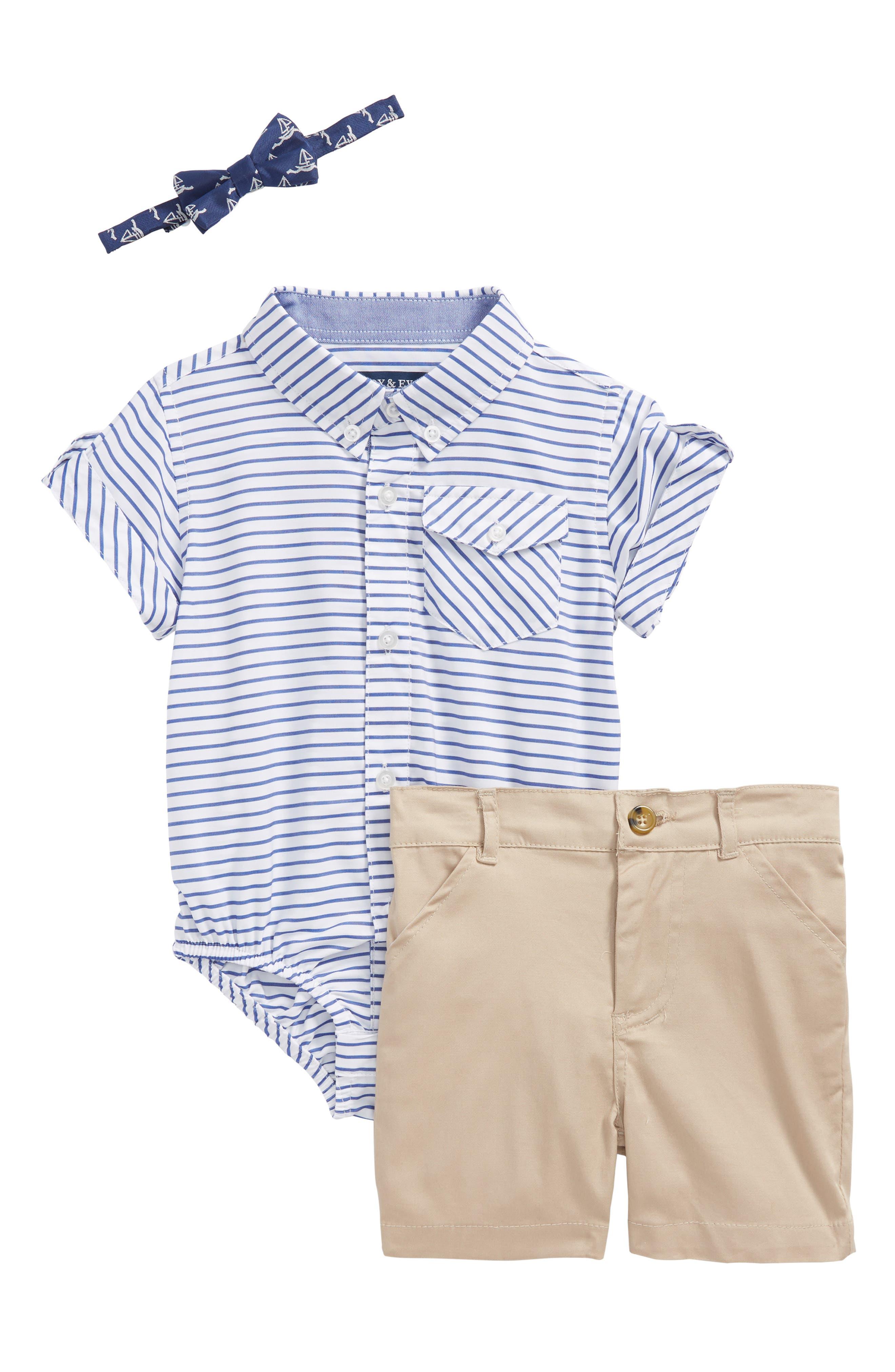 ANDY & EVAN Shirtzie, Bow Tie & Shorts Set, Main, color, BLUE