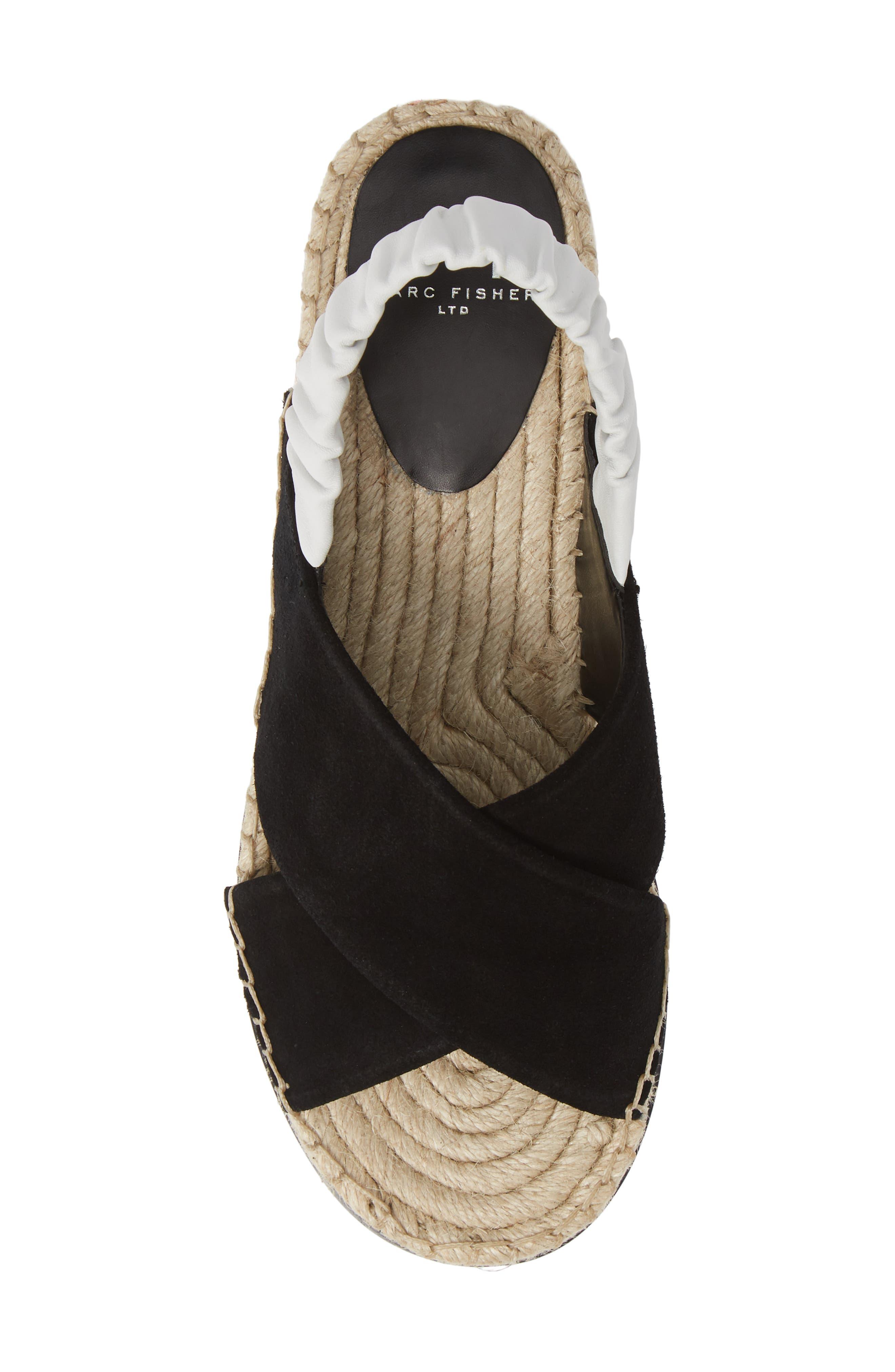 MARC FISHER LTD, Pella Sandal, Alternate thumbnail 5, color, BLACK SUEDE