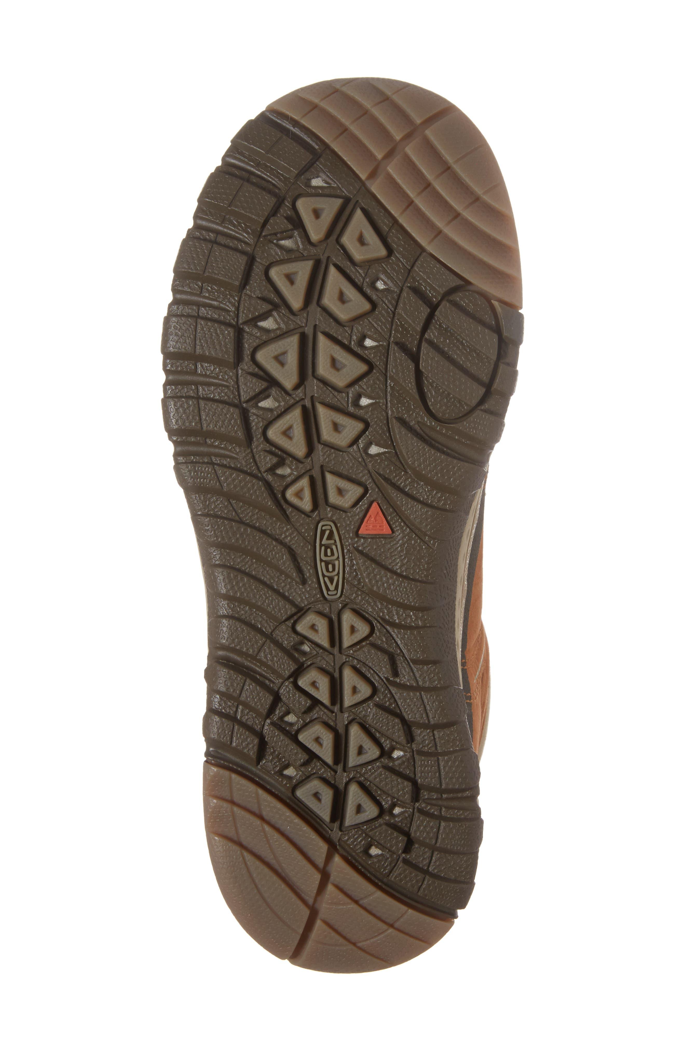 KEEN, Terradora Leather Waterproof Hiking Boot, Alternate thumbnail 6, color, TIMBER/ ORANGE NUBUCK