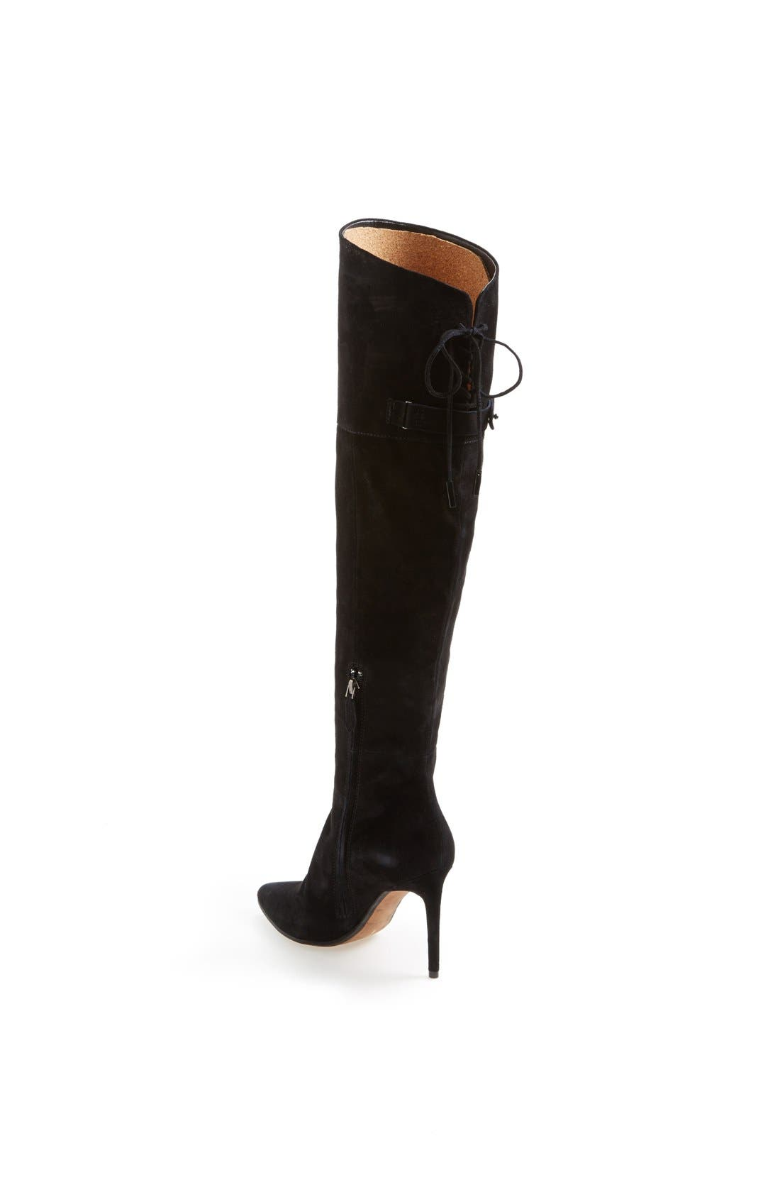 DOLCE VITA, 'Inara' Over the Knee Pointy Toe Suede Boot, Alternate thumbnail 5, color, 001