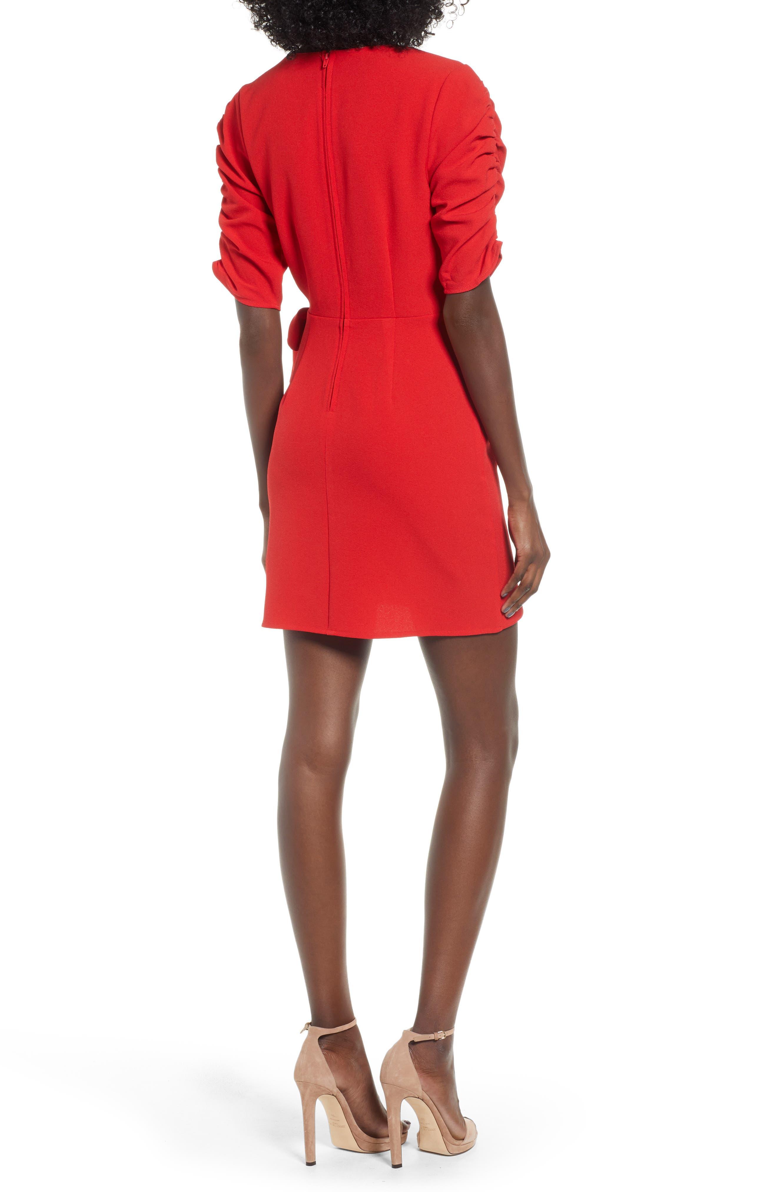 SPEECHLESS, Cinch Sleeve Faux Wrap Dress, Alternate thumbnail 2, color, 600