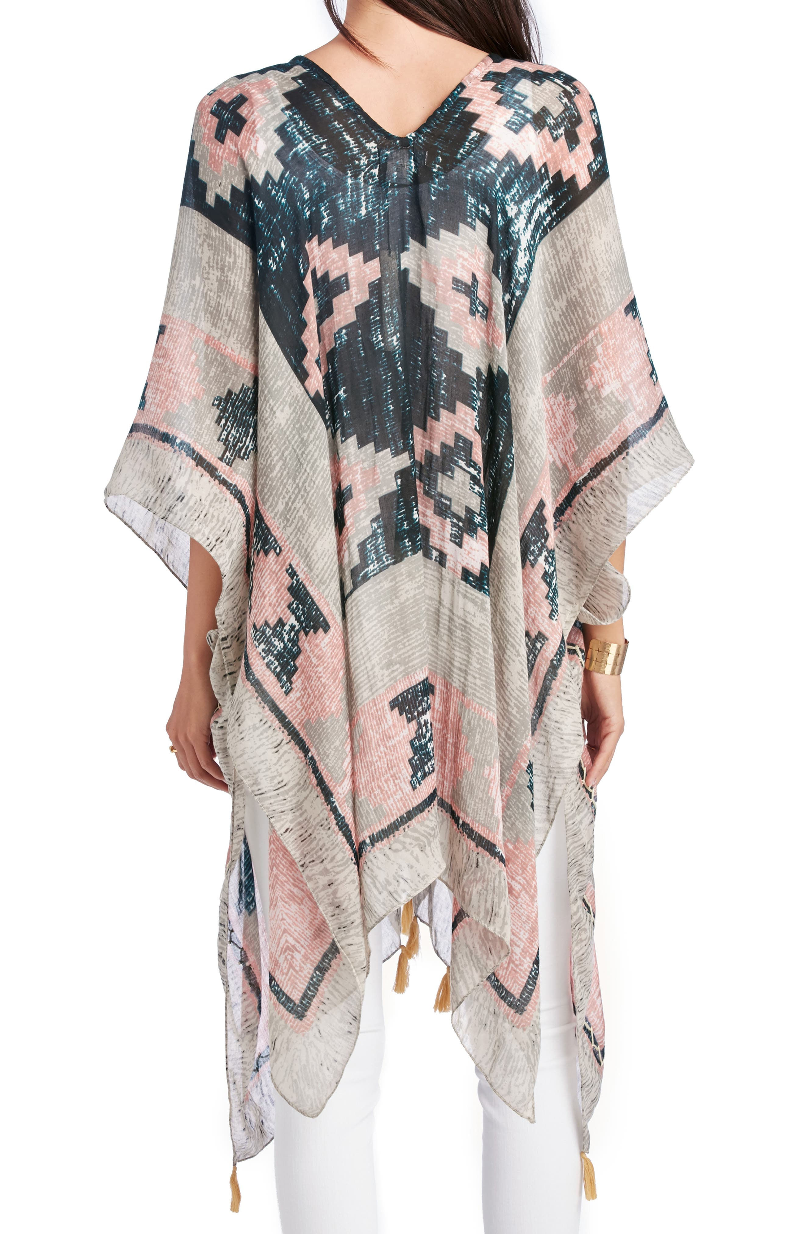 SOLE SOCIETY, Geo Print Tassel Caftan, Alternate thumbnail 2, color, MULTI