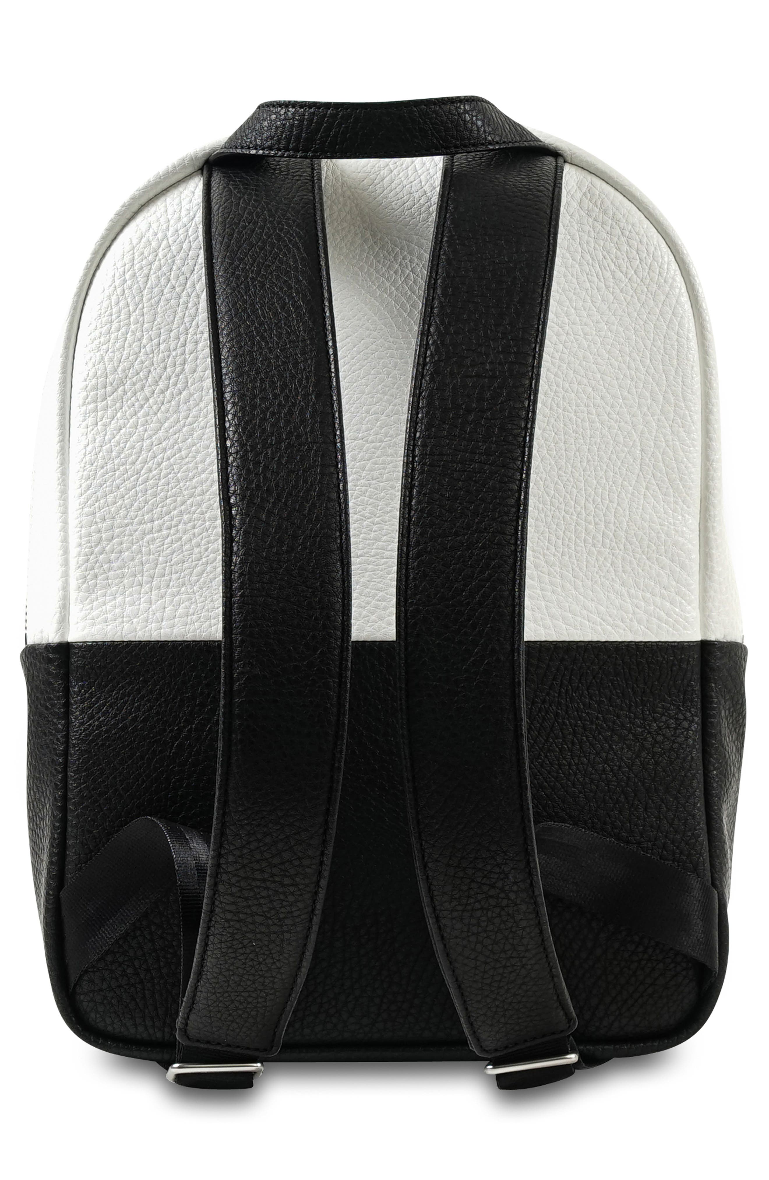 JU-JU-BE, Ever Collection Mini Faux Leather Diaper Backpack, Alternate thumbnail 2, color, BLACK/ WHITE