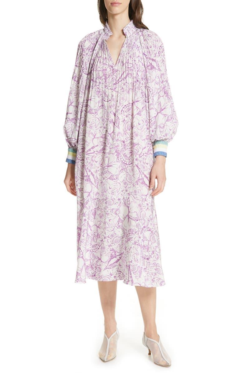 Tibi Dresses ISA TOILE PRINT RIBBED CUFF MIDI DRESS