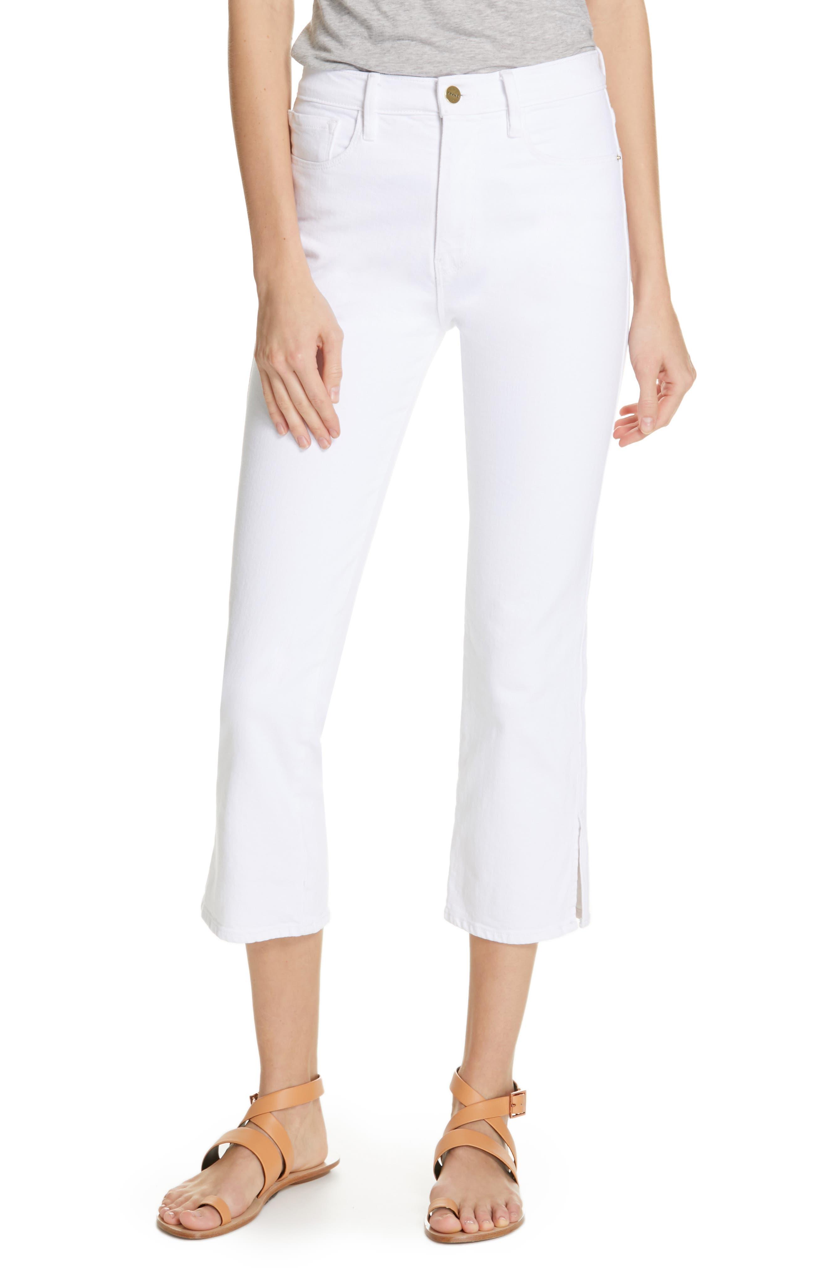 FRAME Le Sylvie Slit Hem Ankle Slim Jeans, Main, color, 100