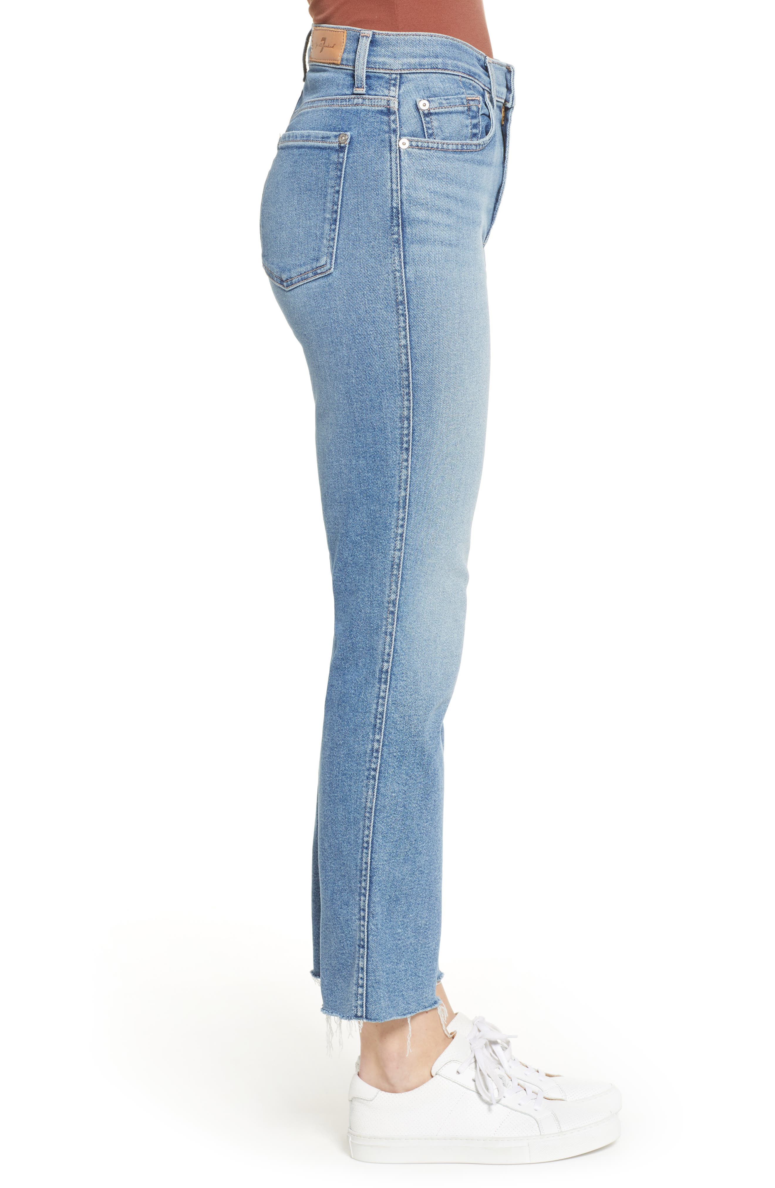7 FOR ALL MANKIND<SUP>®</SUP>, Edie High Waist Crop Jeans, Alternate thumbnail 4, color, LUXE VINTAGE FLORA