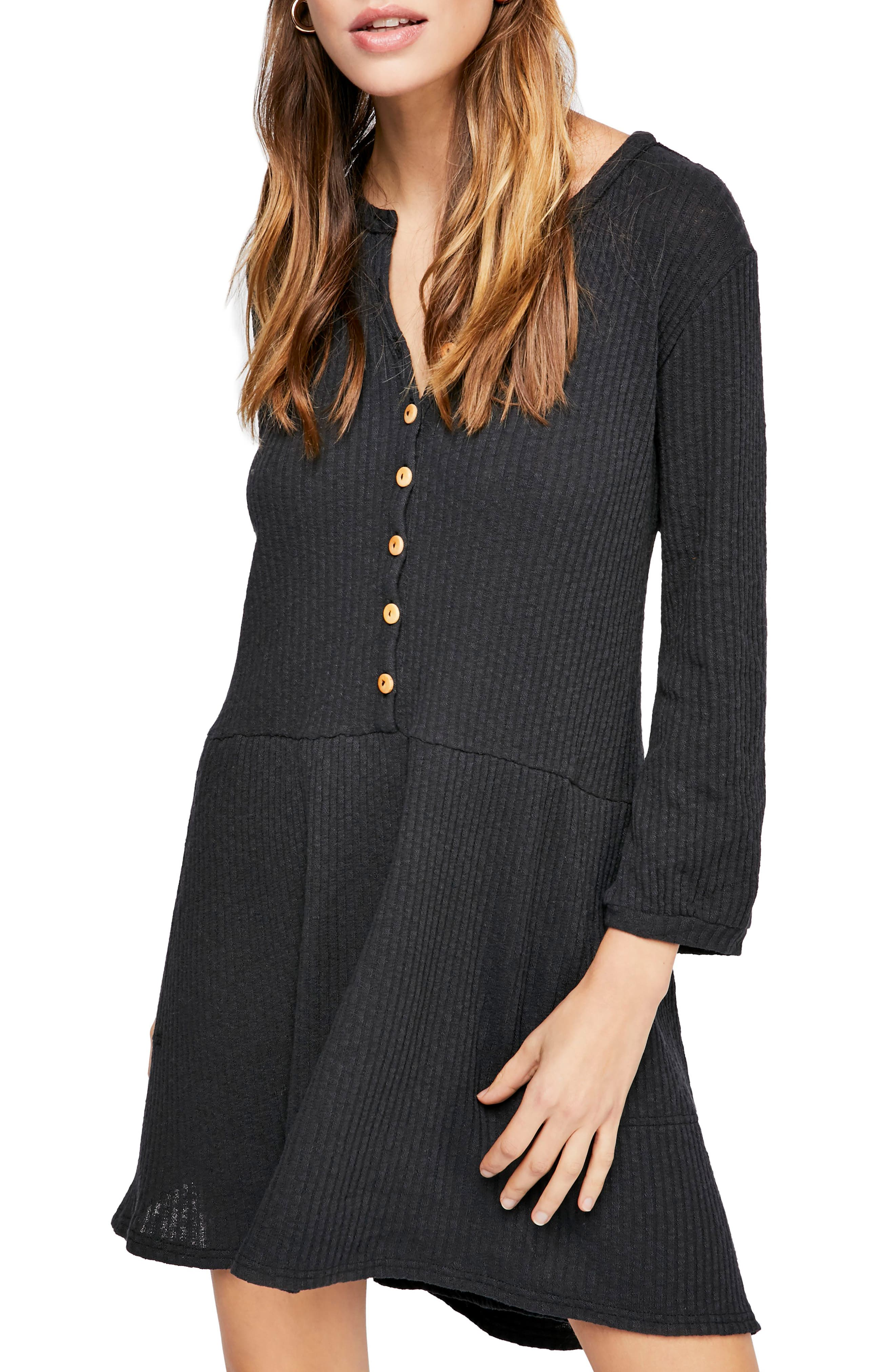 FREE PEOPLE, Endless Summer by Free People Blossom Stretch Cotton Dress, Main thumbnail 1, color, BLACK
