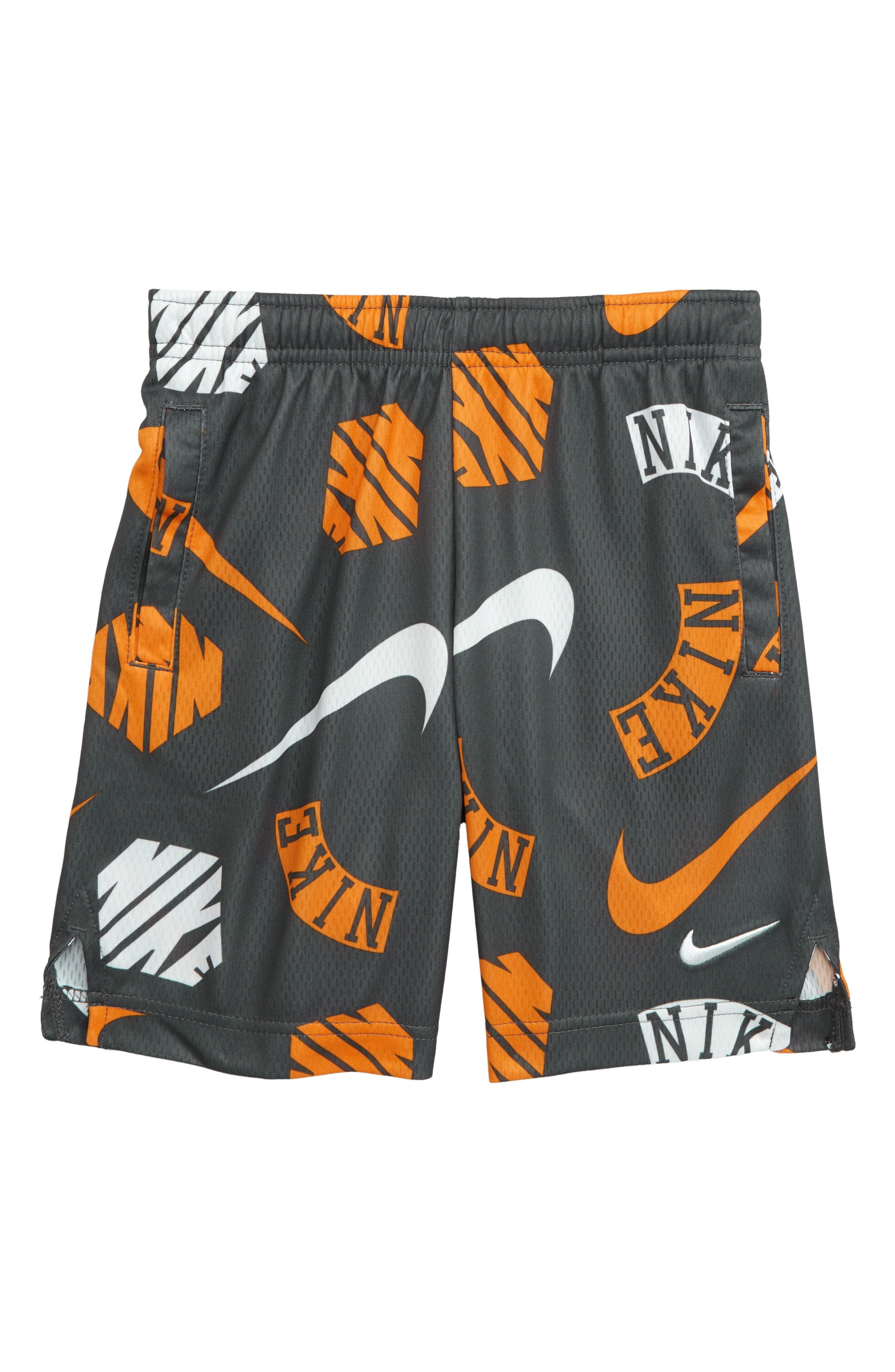 Boys Nike Dry Print Athletic Shorts Size 5  Grey