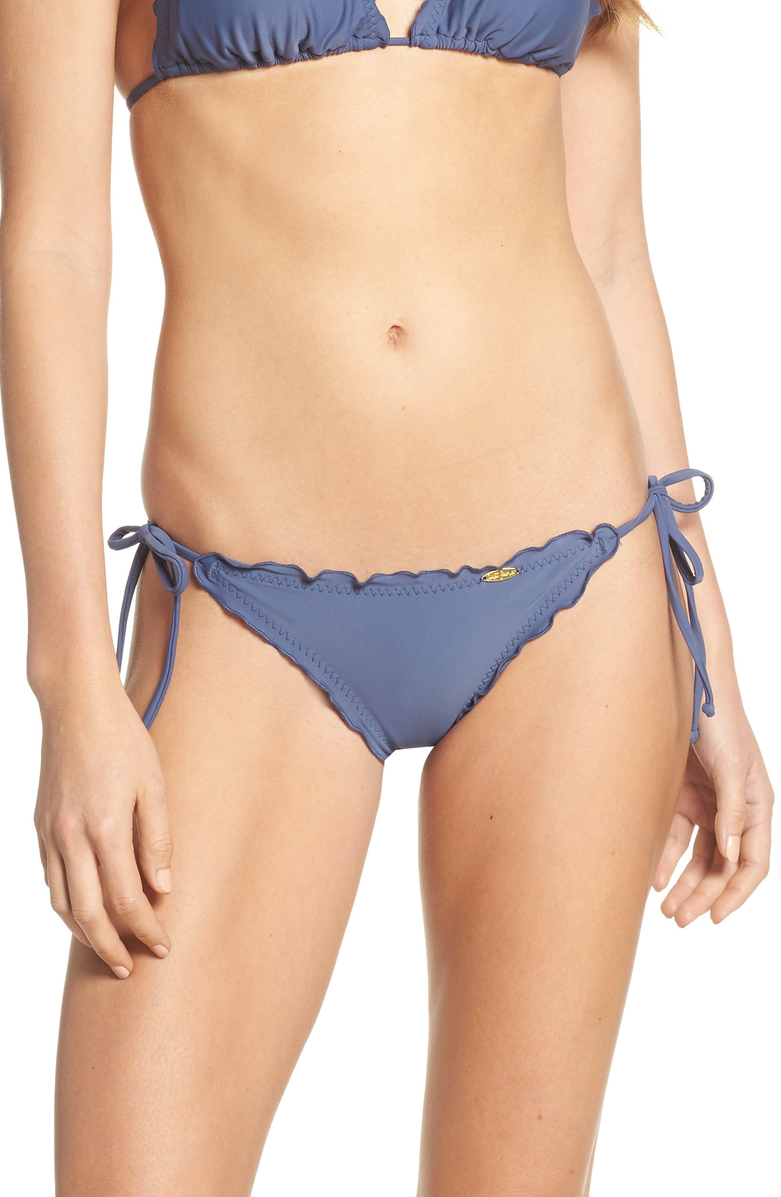 LULI FAMA, Wavy Brazilian Side Tie Bikini Bottoms, Main thumbnail 1, color, AZUELJO
