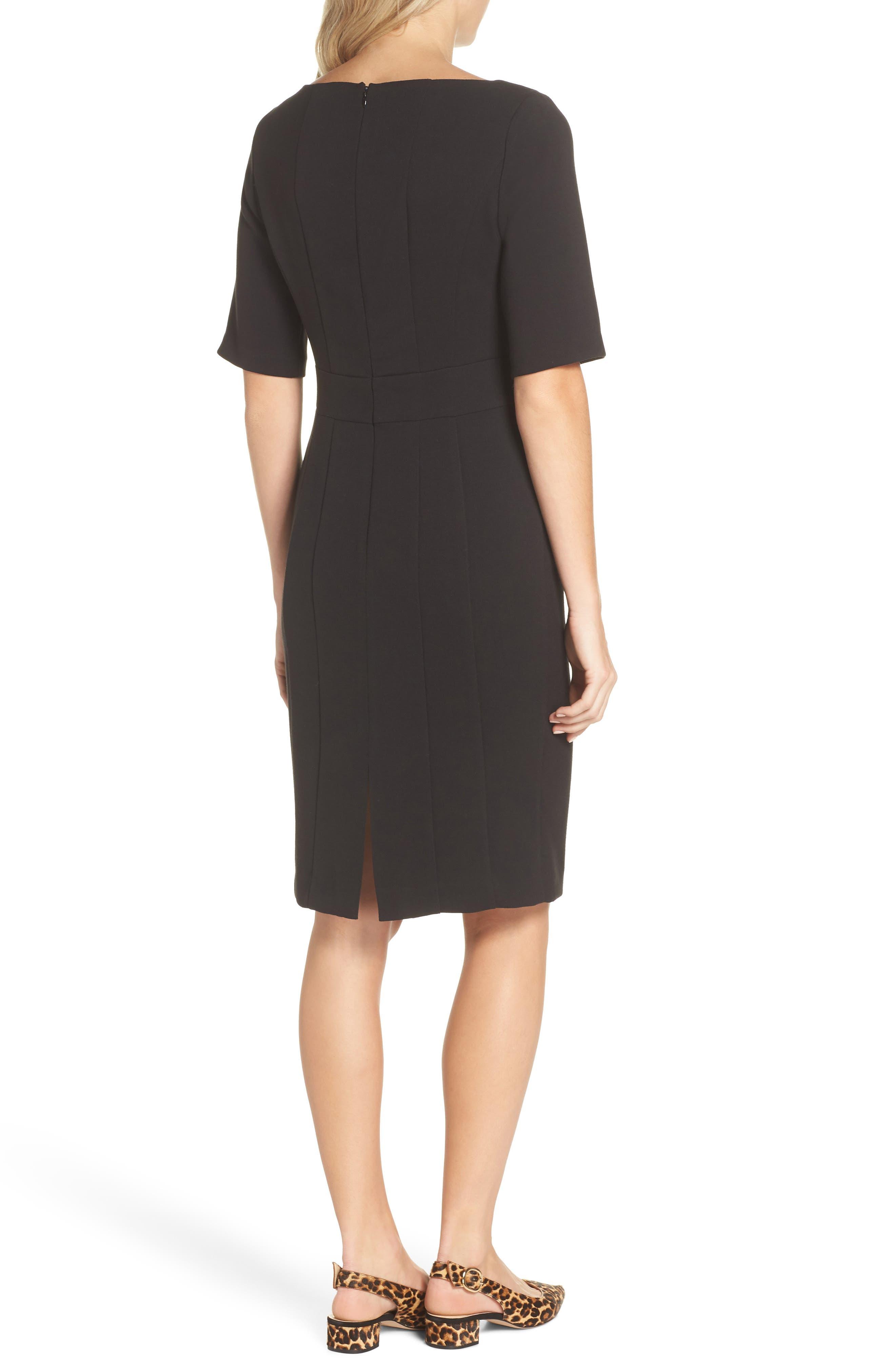 ELIZA J, Bateau Neck Crepe Sheath Dress, Alternate thumbnail 2, color, BLACK