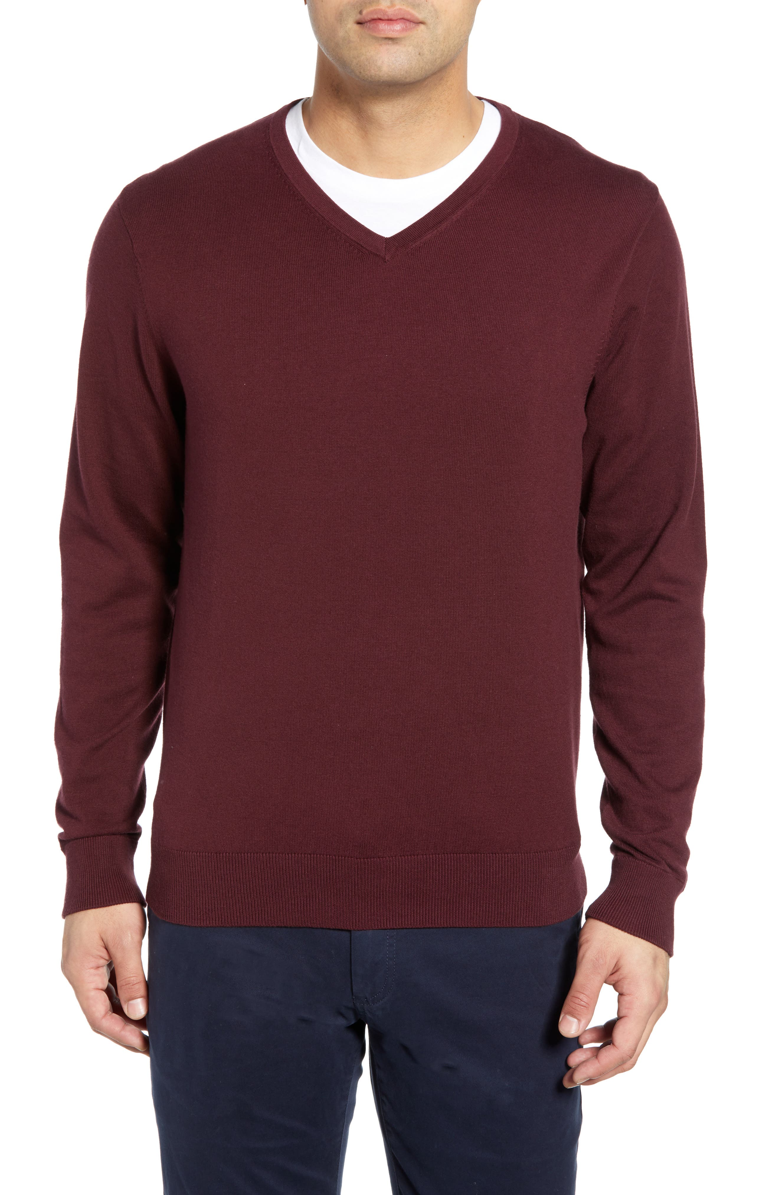 CUTTER & BUCK, Lakemont V-Neck Sweater, Main thumbnail 1, color, BORDEAUX