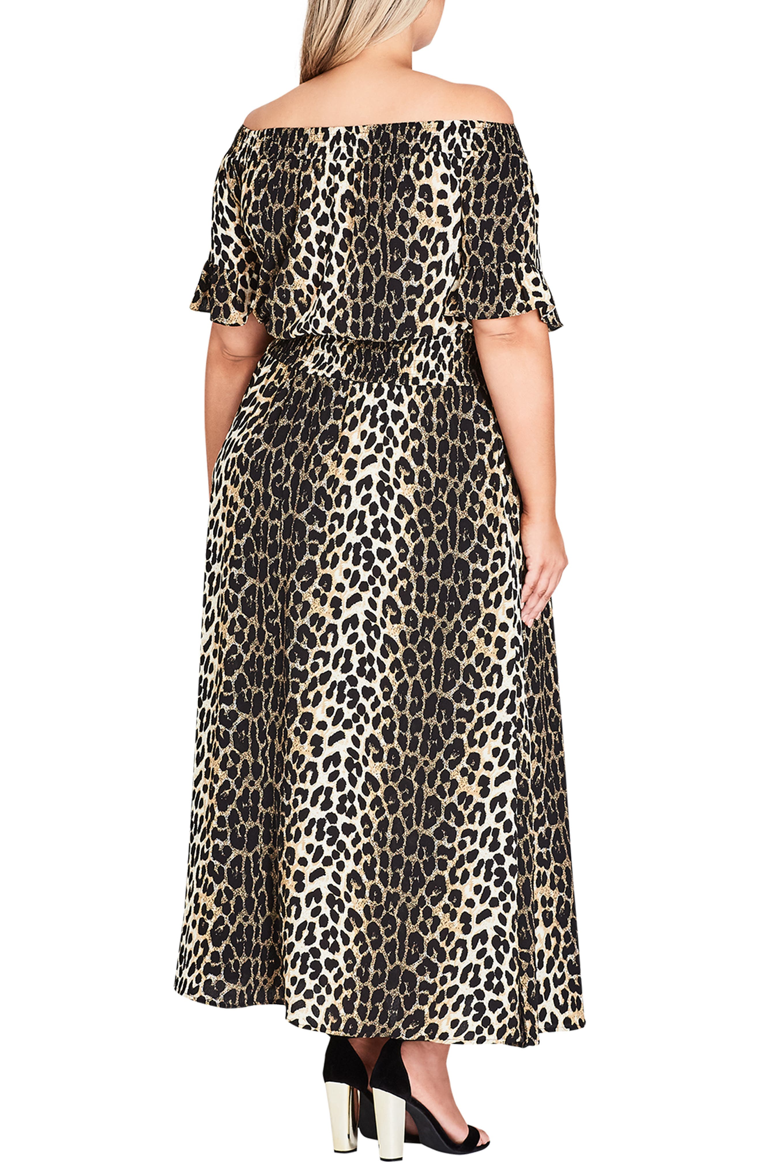 CITY CHIC, Animal Essence Maxi Dress, Alternate thumbnail 2, color, 111