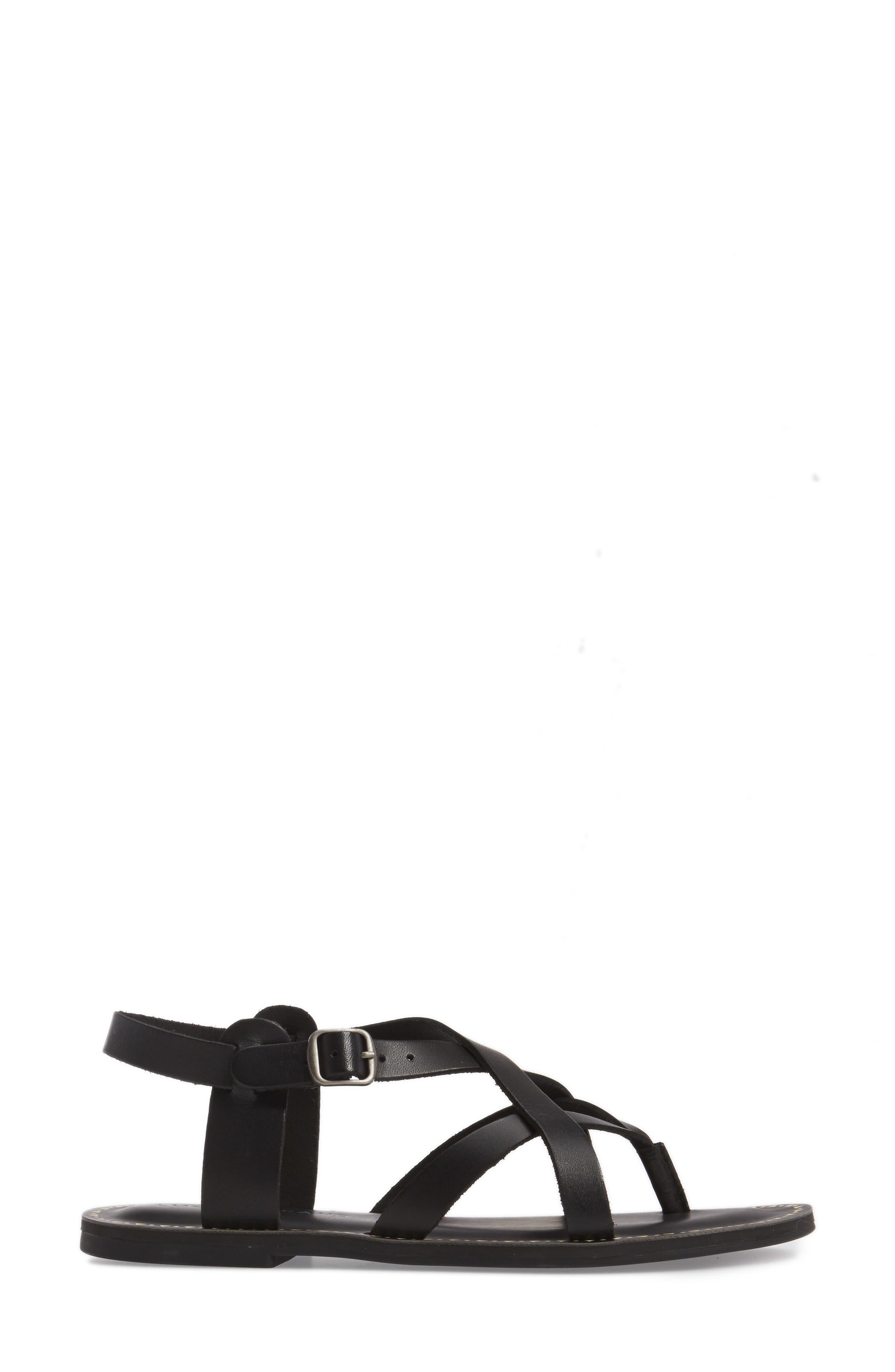 LUCKY BRAND, Adinis Flat Sandal, Alternate thumbnail 3, color, 001