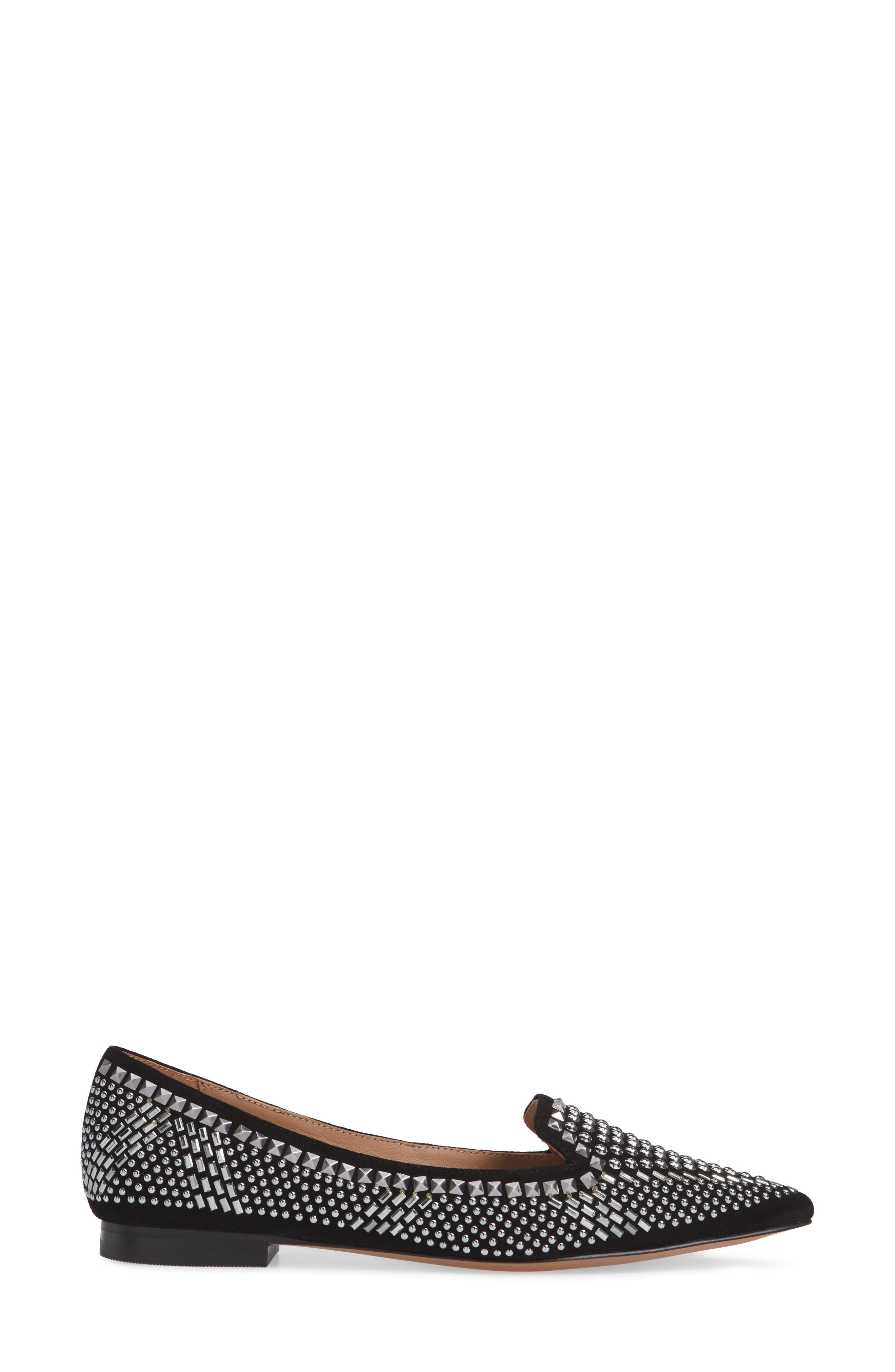 LINEA PAOLO, Portia Studded Loafer, Alternate thumbnail 3, color, BLACK SUEDE