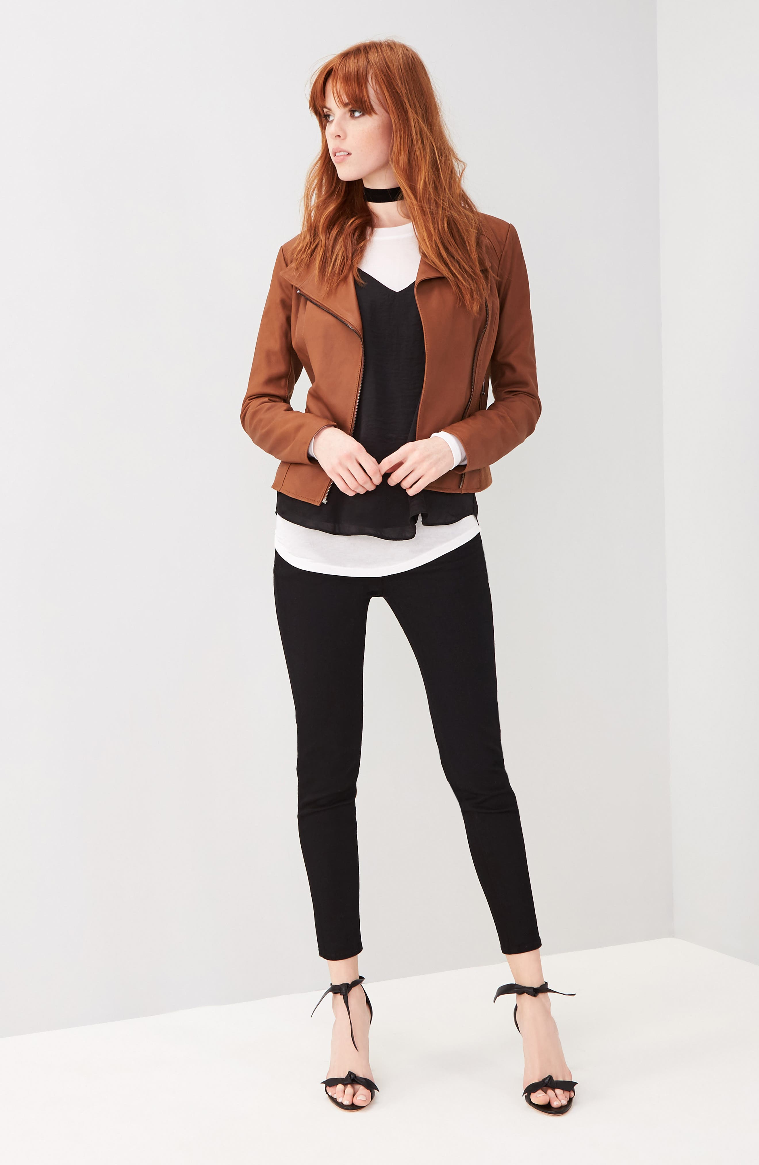 ANDREW MARC, Marc New York by Andrew Marc Felix Stand Collar Leather Jacket, Main thumbnail 1, color, WHISKEY