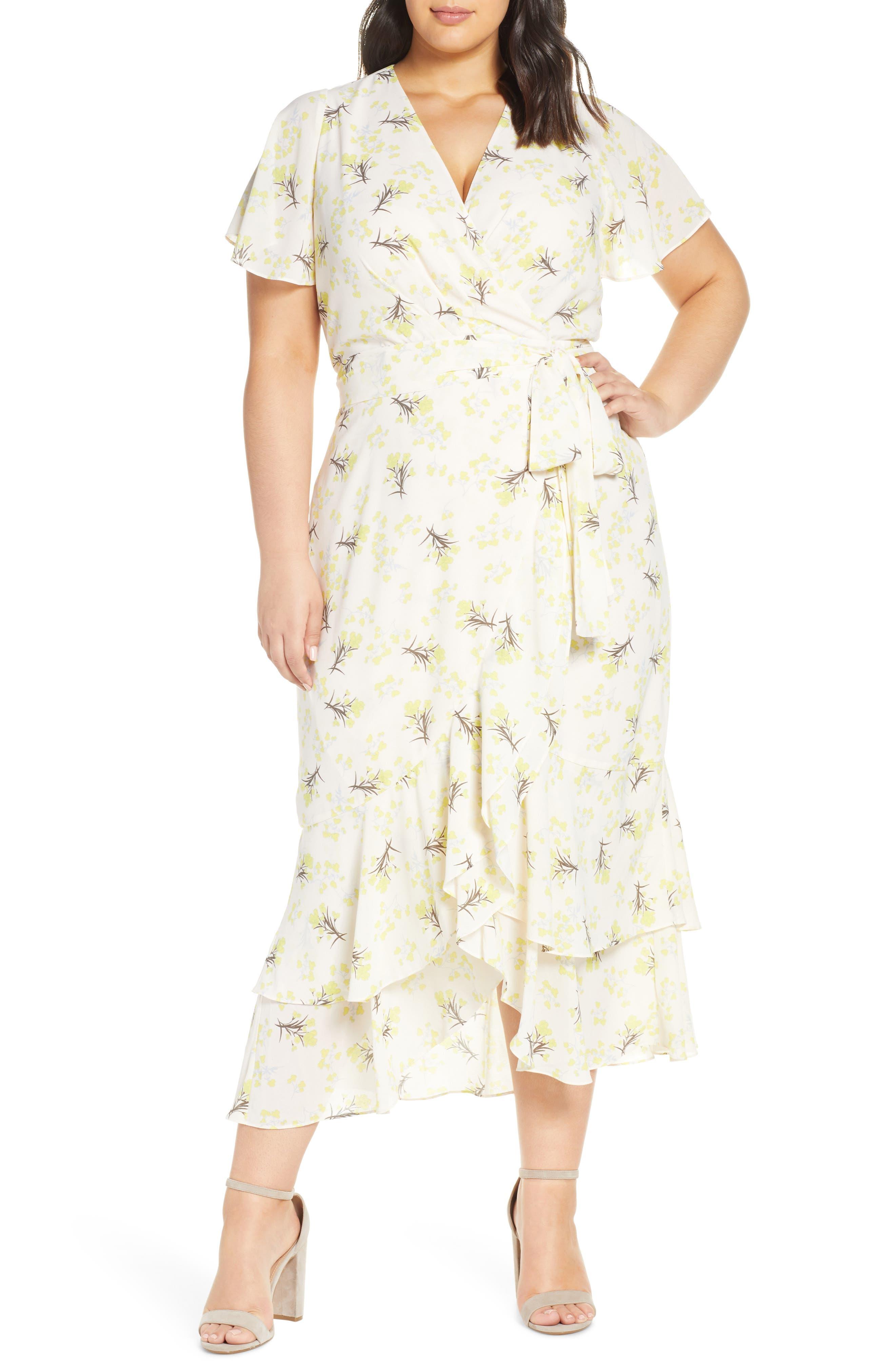 1930s Day Dresses, Tea Dresses, House Dresses Plus Size Womens Rachel Rachel Roy Faux Wrap Midi Dress $159.00 AT vintagedancer.com