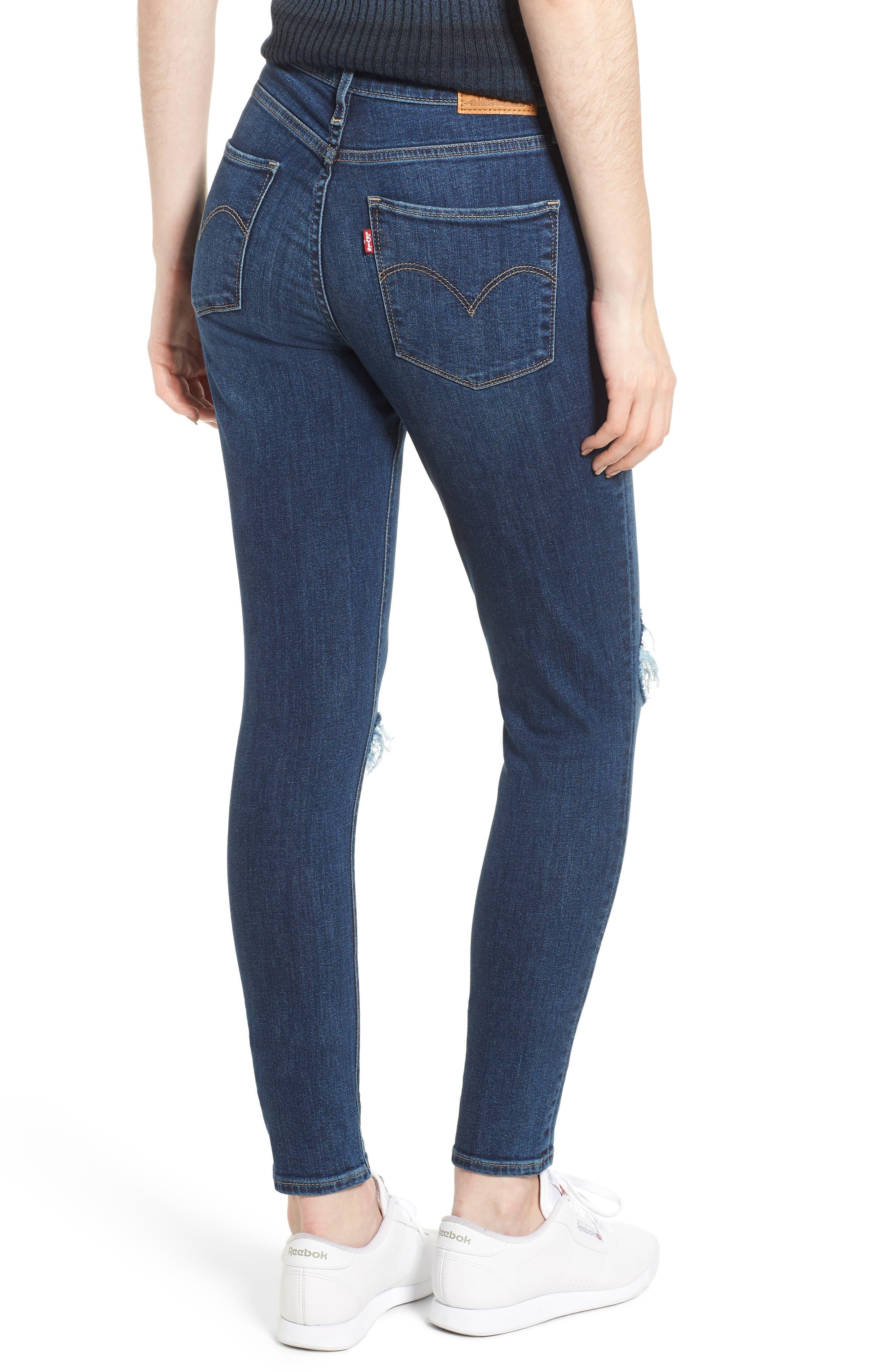 LEVI'S<SUP>®</SUP>, 721<sup>™</sup> Ripped High Waist Skinny Jeans, Alternate thumbnail 2, color, INDIGO LUNA