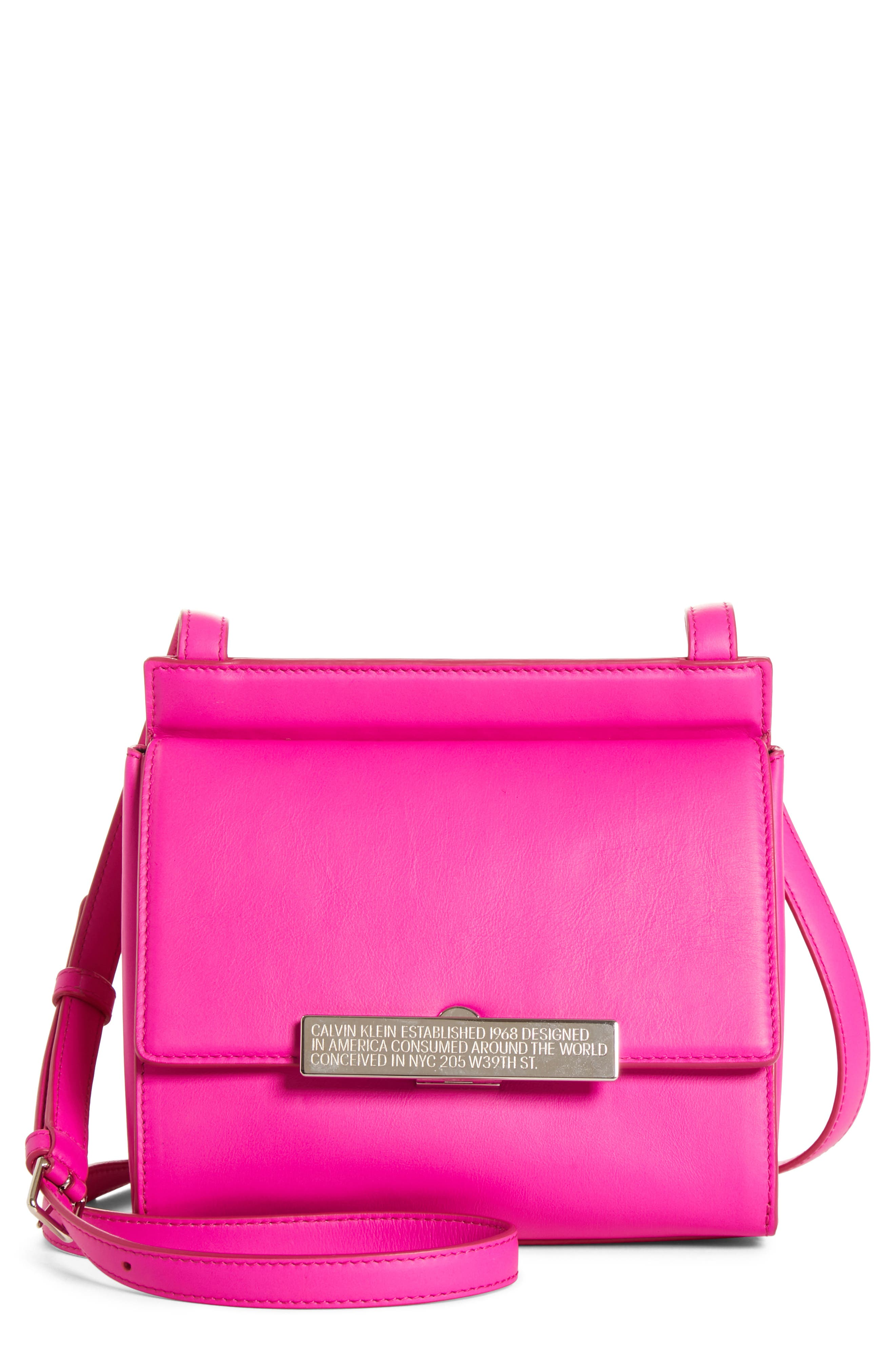CALVIN KLEIN 205W39NYC Starr Leather Crossbody, Main, color, SHOCKING