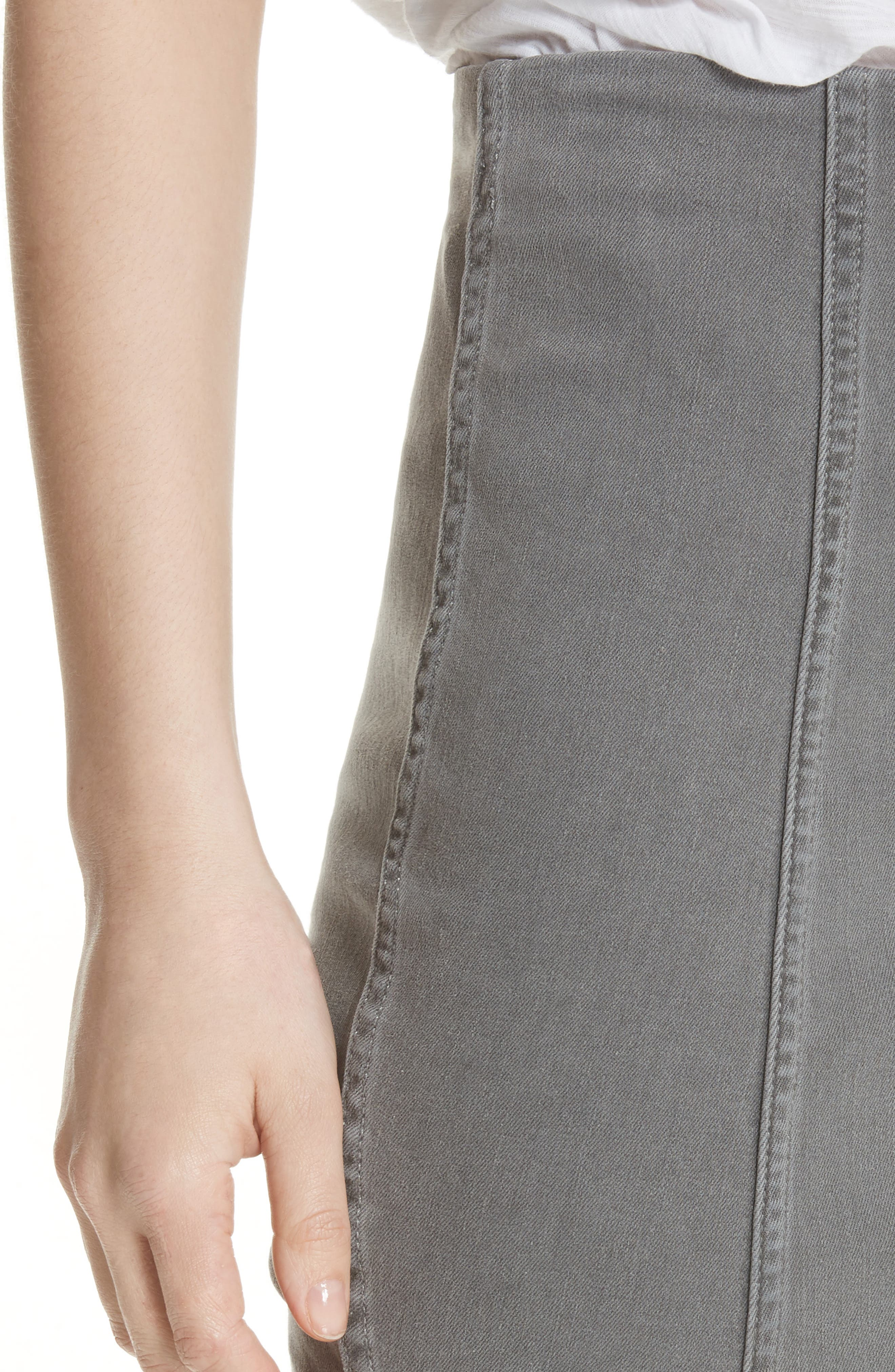 FREE PEOPLE, We the Free by Free People Modern Femme Denim Miniskirt, Alternate thumbnail 4, color, LIGHT GREY