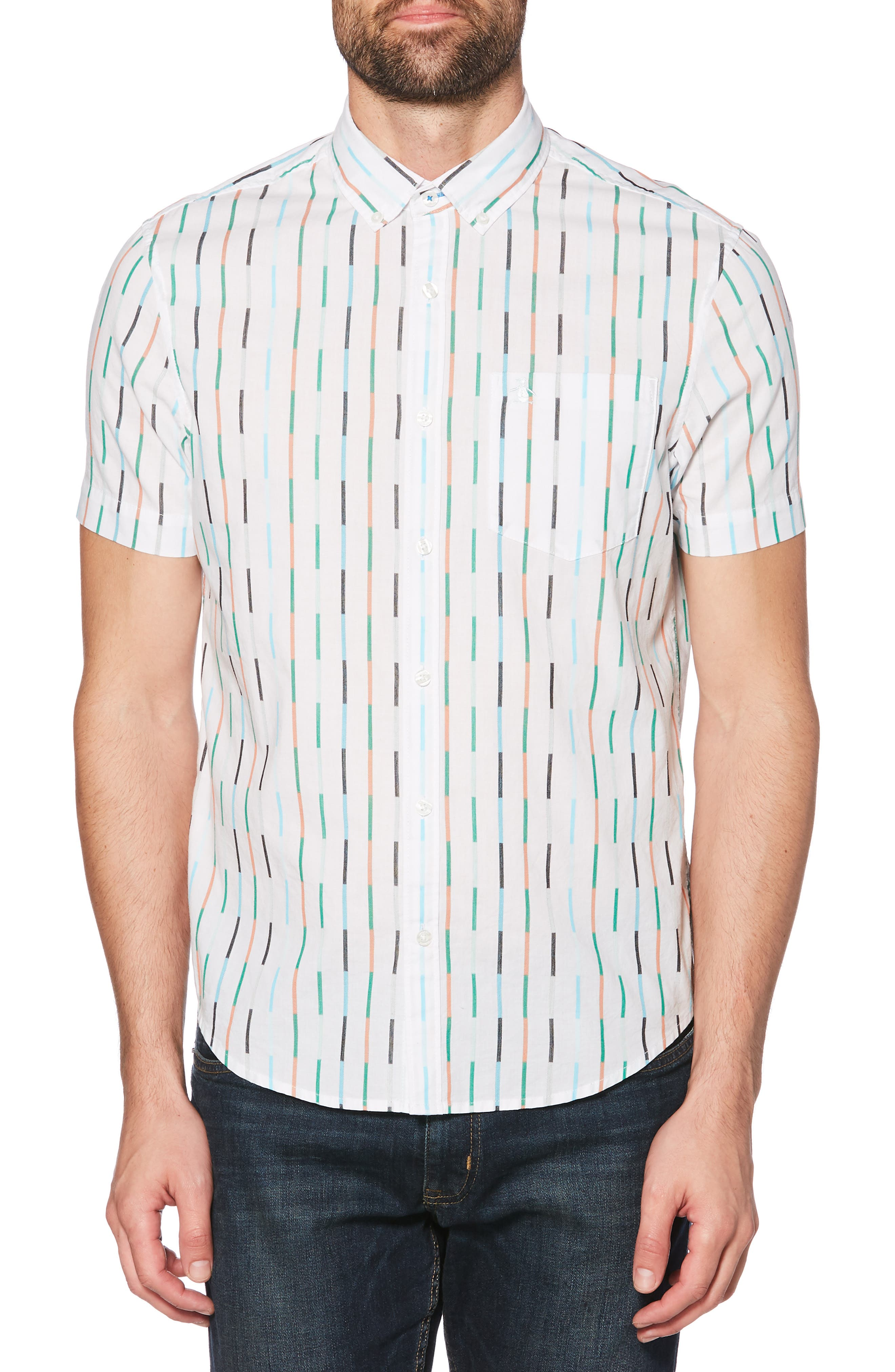 ORIGINAL PENGUIN, Vertical Broken Stripe Woven Shirt, Main thumbnail 1, color, BRIGHT WHITE