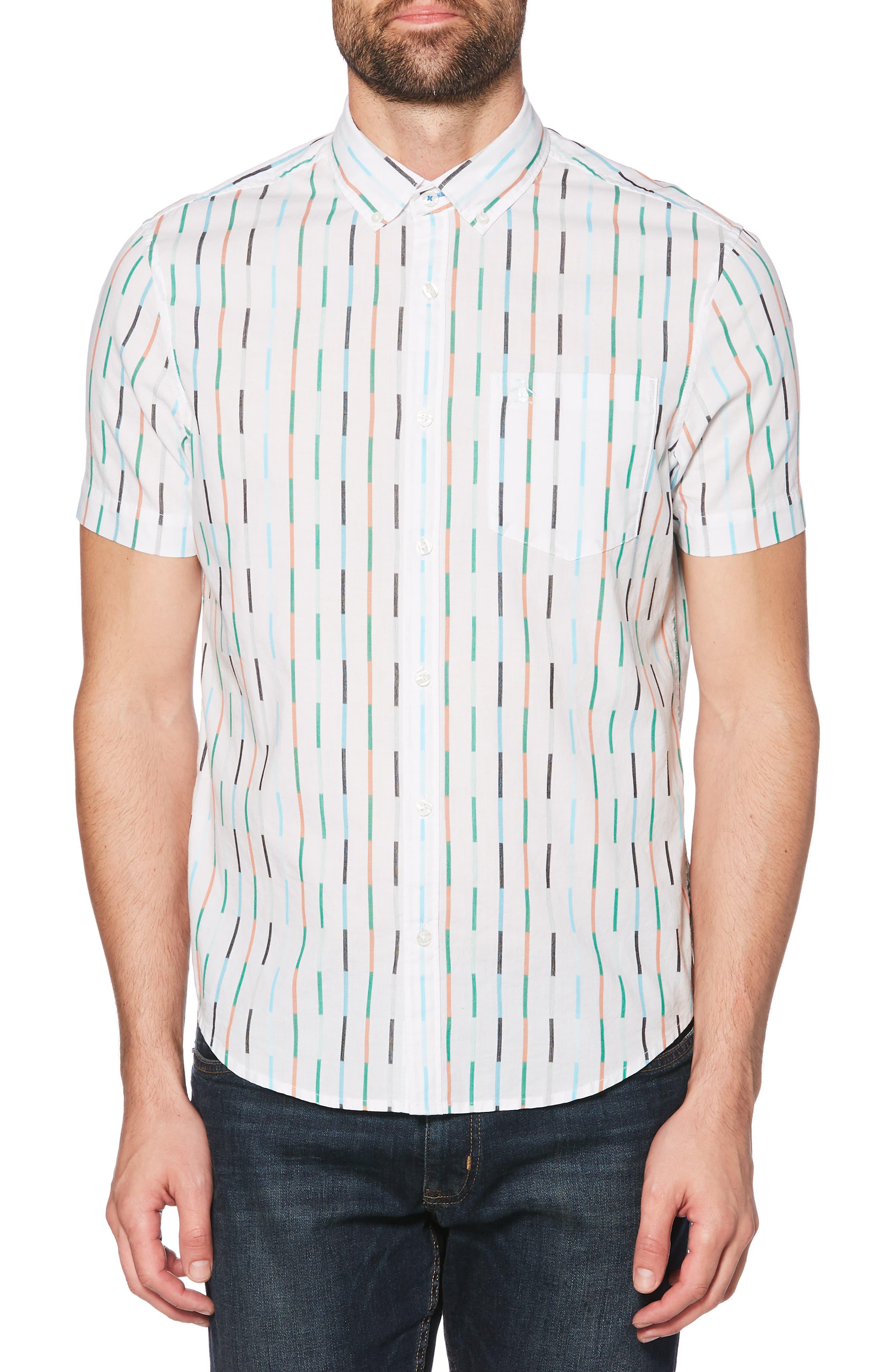 ORIGINAL PENGUIN Vertical Broken Stripe Woven Shirt, Main, color, BRIGHT WHITE