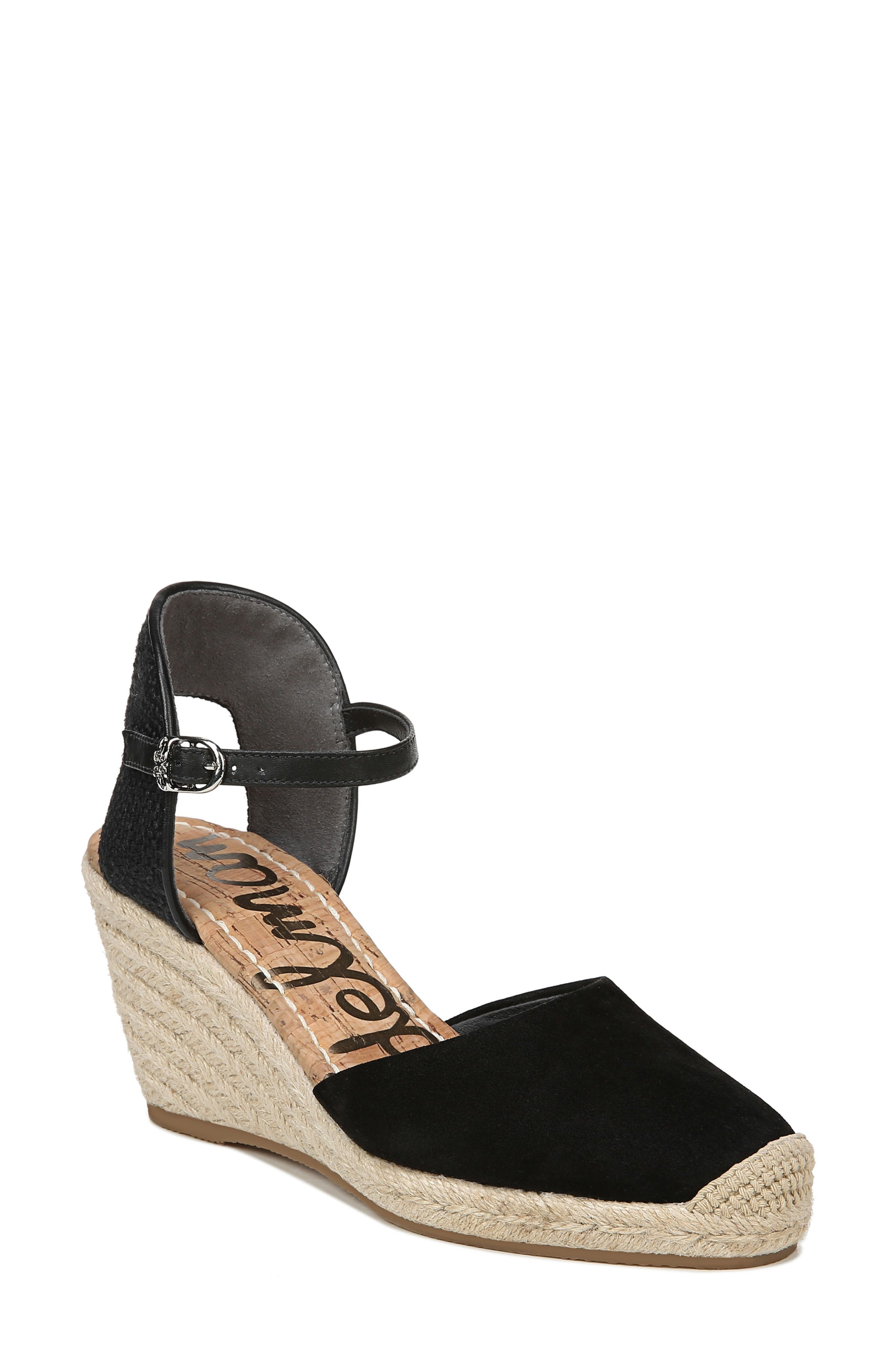 SAM EDELMAN Payton Wedge Sandal, Main, color, BLACK