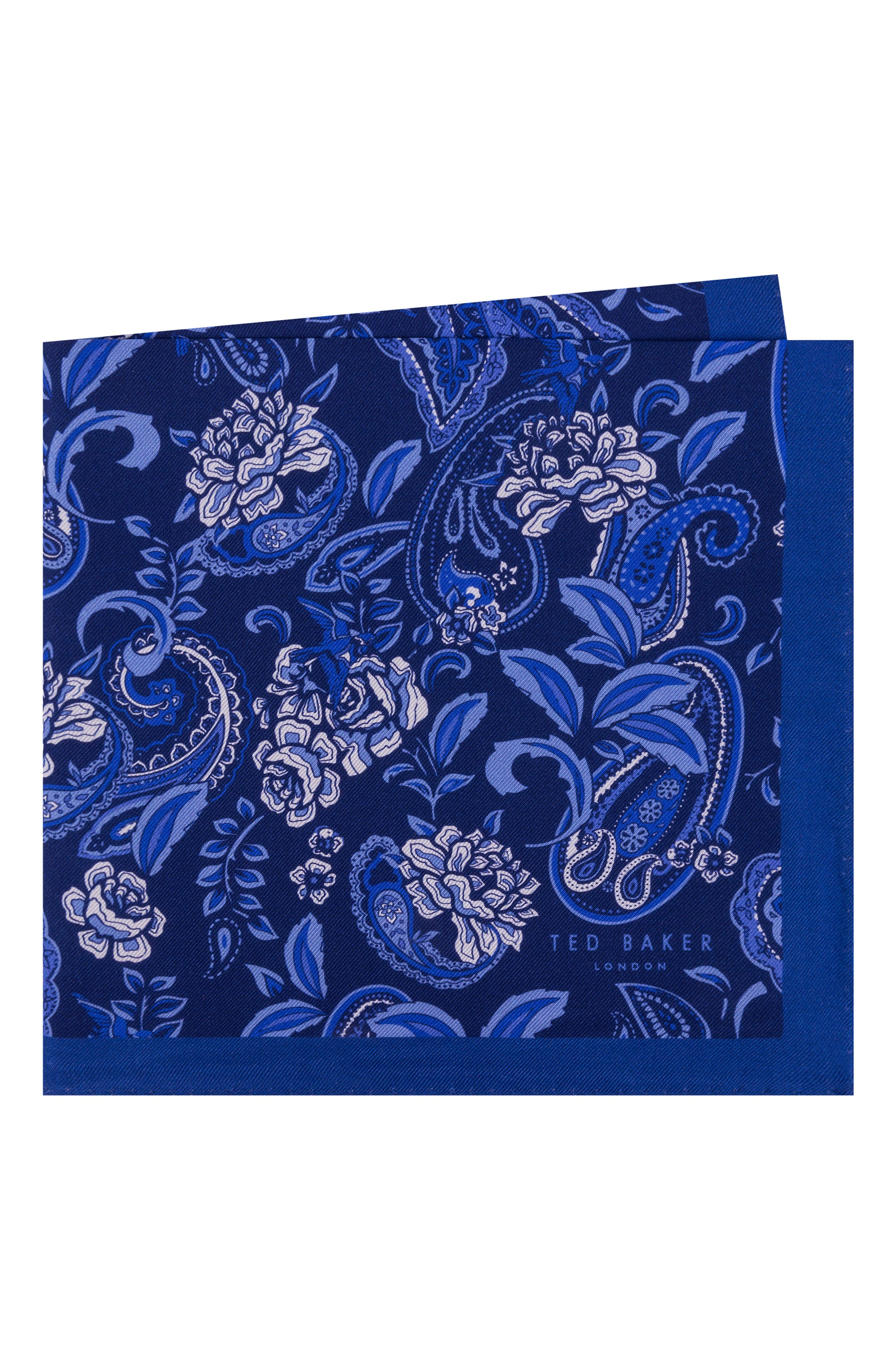 TED BAKER LONDON Paisley Silk Pocket Square, Main, color, 411