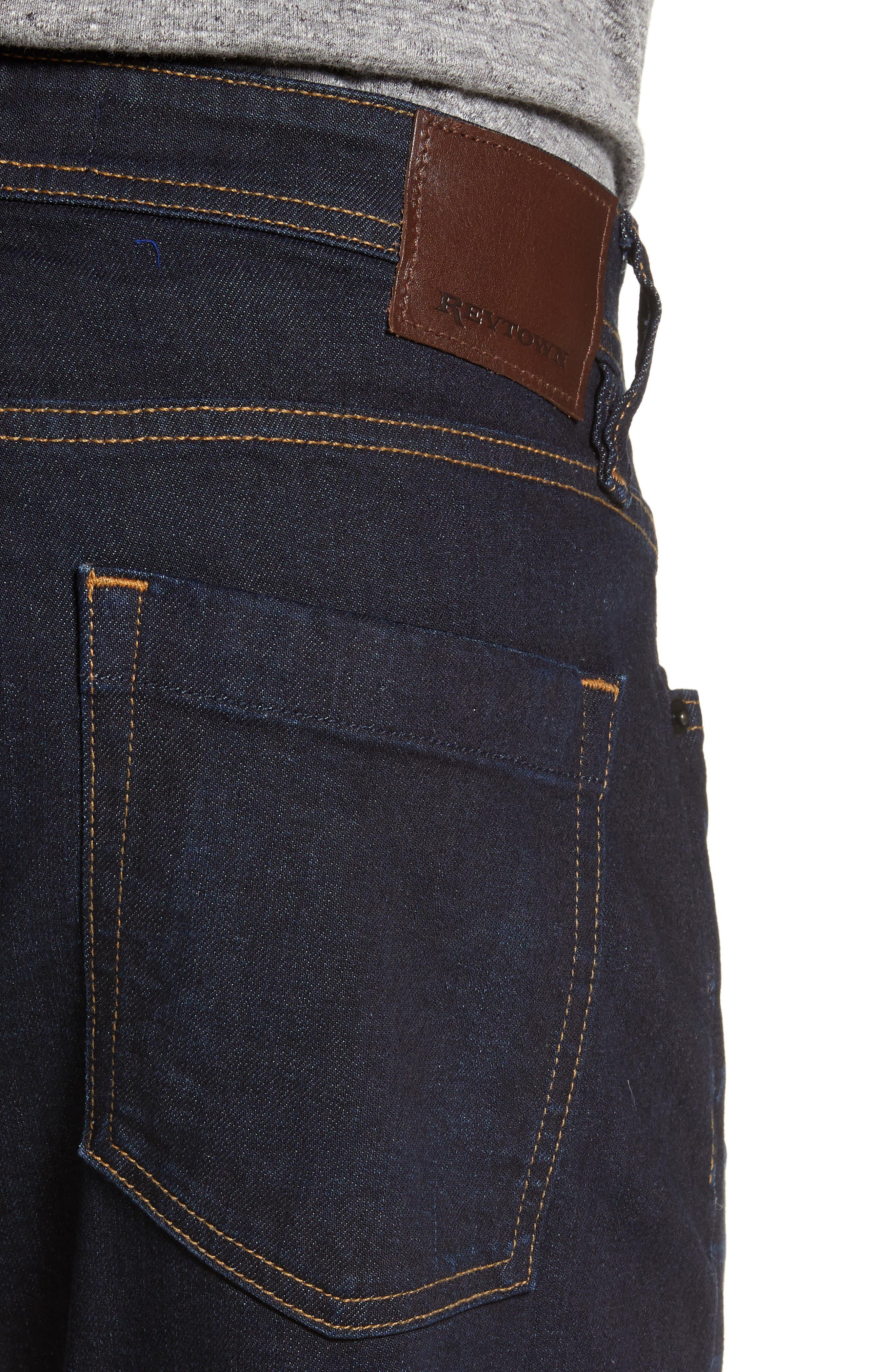REVTOWN, Sharp Slim Fit Jeans, Alternate thumbnail 4, color, DARK INDIGO