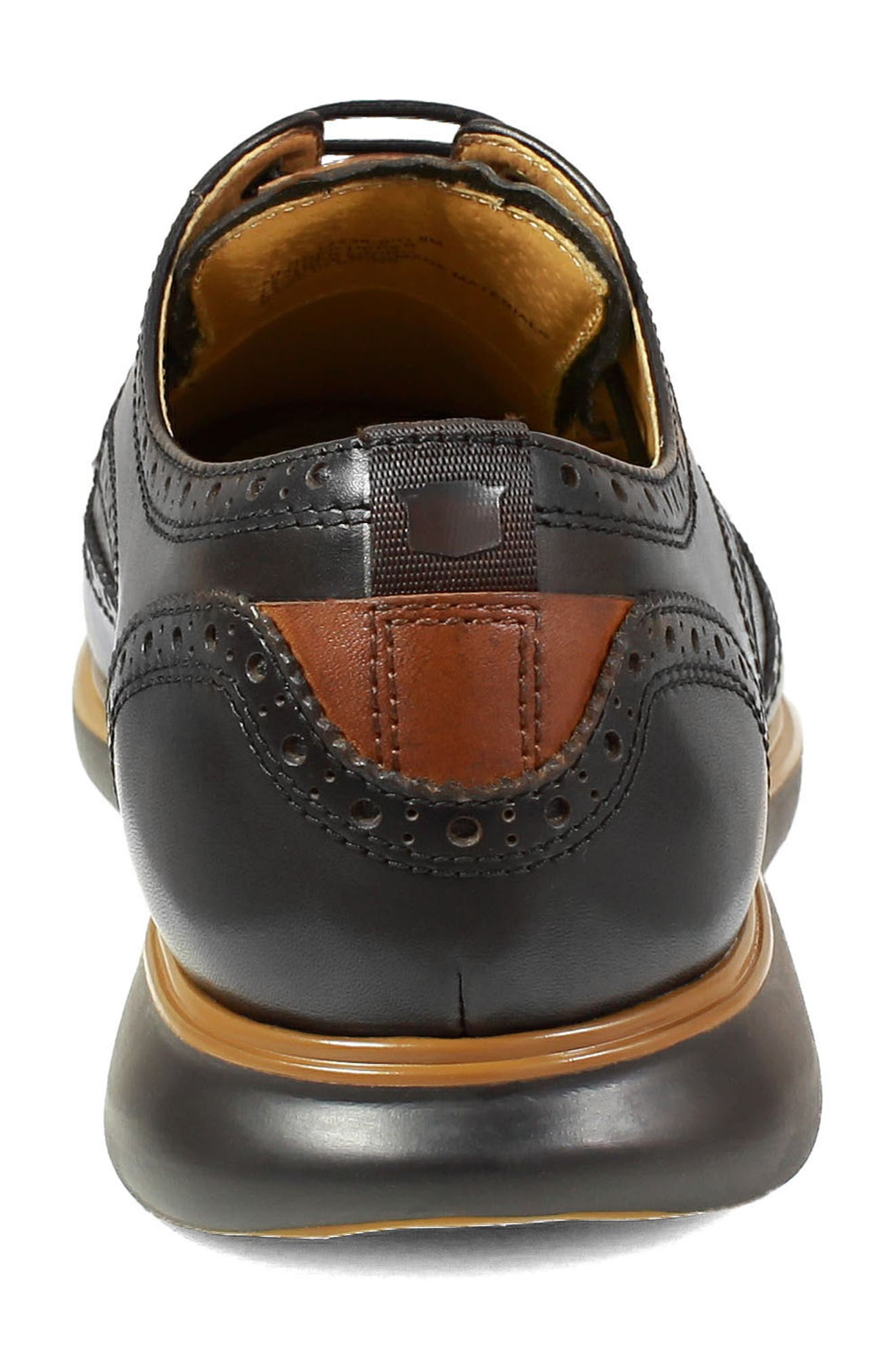 FLORSHEIM, Fuel Wingtip, Alternate thumbnail 7, color, BLACK LEATHER