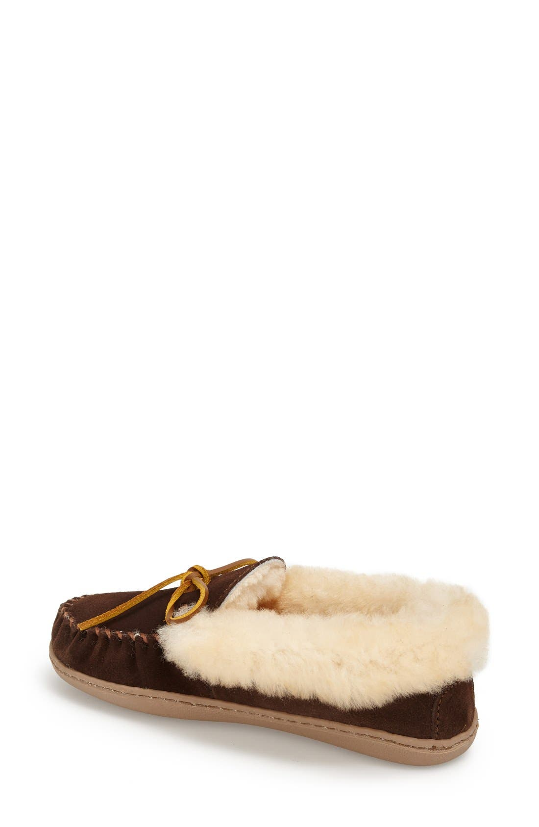 MINNETONKA, 'Alpine' Genuine Shearling Moccasin Slipper, Alternate thumbnail 2, color, CHOCOLATE SUEDE
