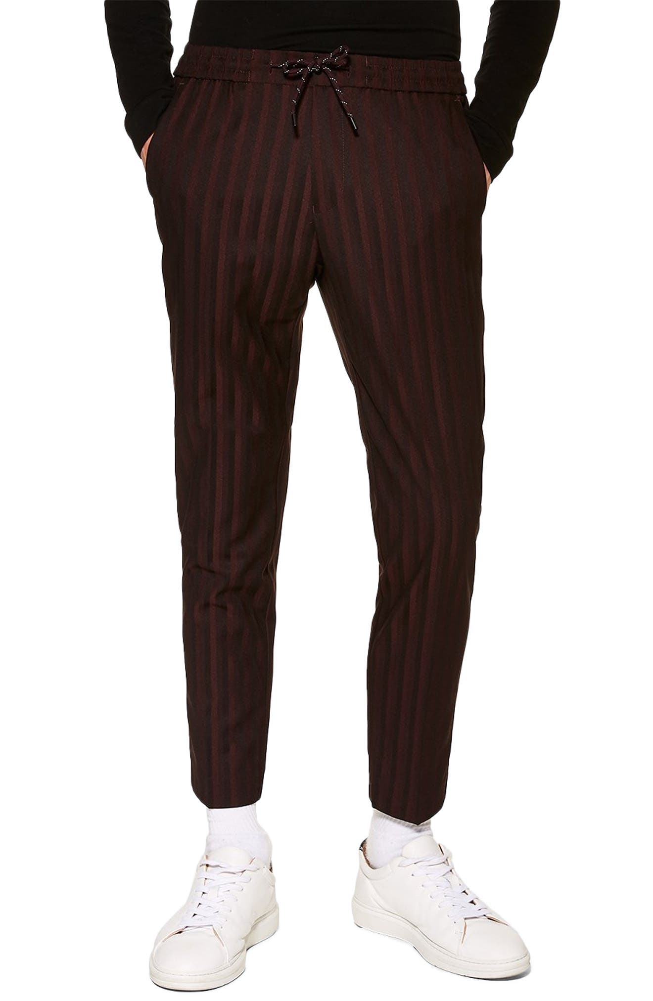 TOPMAN Winston Pinstripe Trousers, Main, color, BURGUNDY