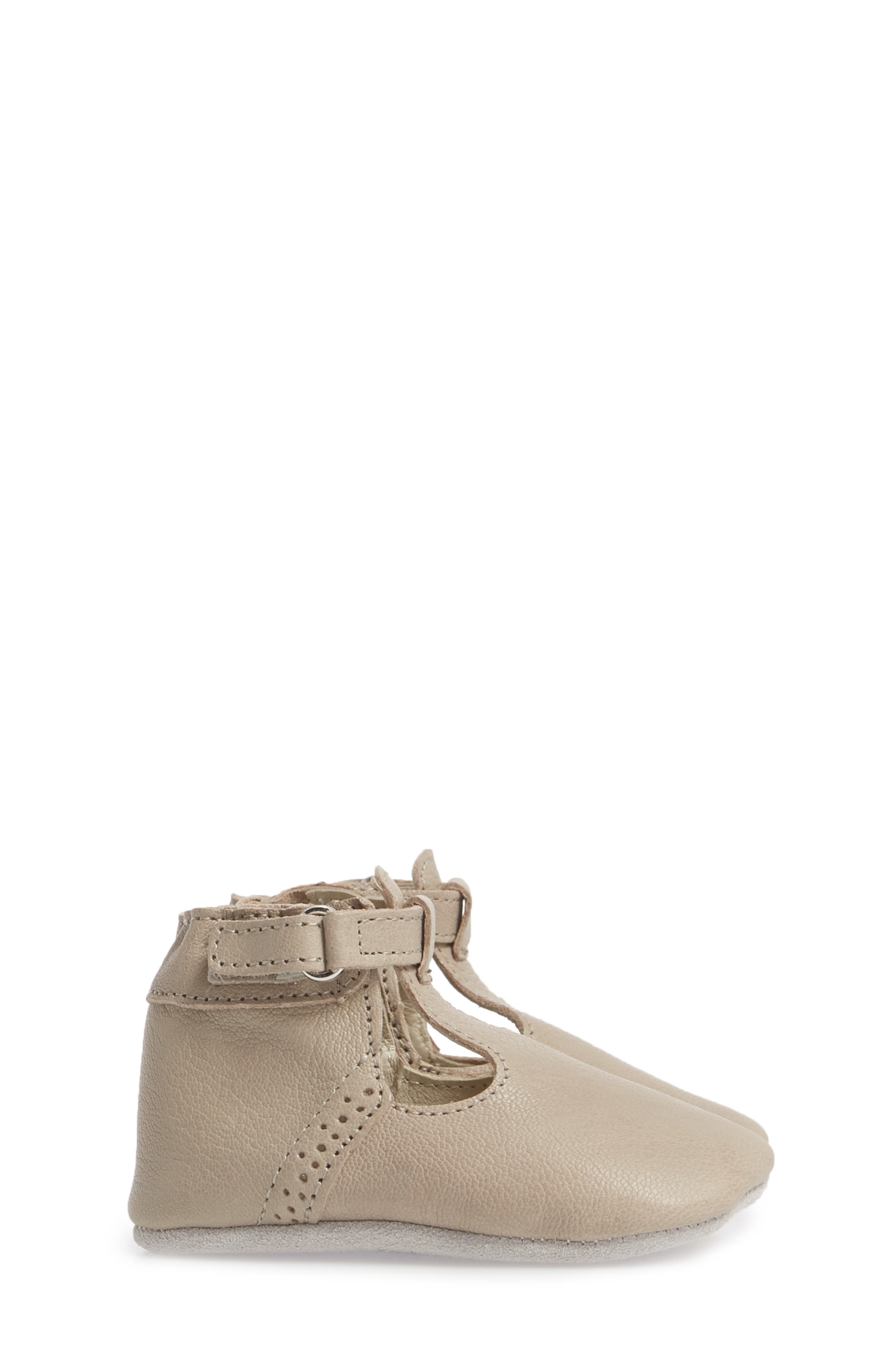 ROBEEZ<SUP>®</SUP>, Penny T-Strap Mary Jane Crib Shoe, Alternate thumbnail 3, color, TAUPE
