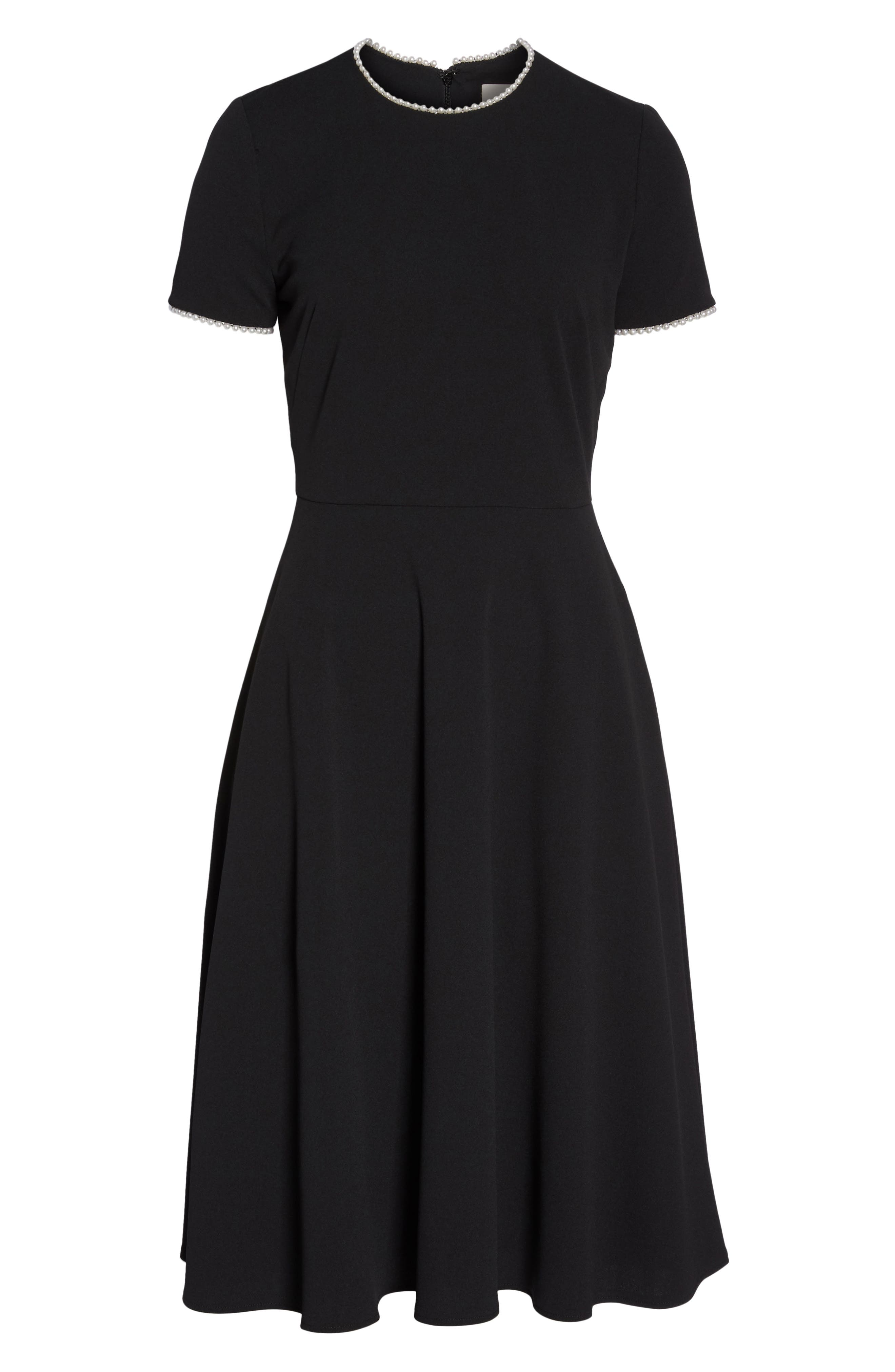 GAL MEETS GLAM COLLECTION, Victoria Pearly Trim Fit & Flare Cocktail Dress, Alternate thumbnail 7, color, BLACK
