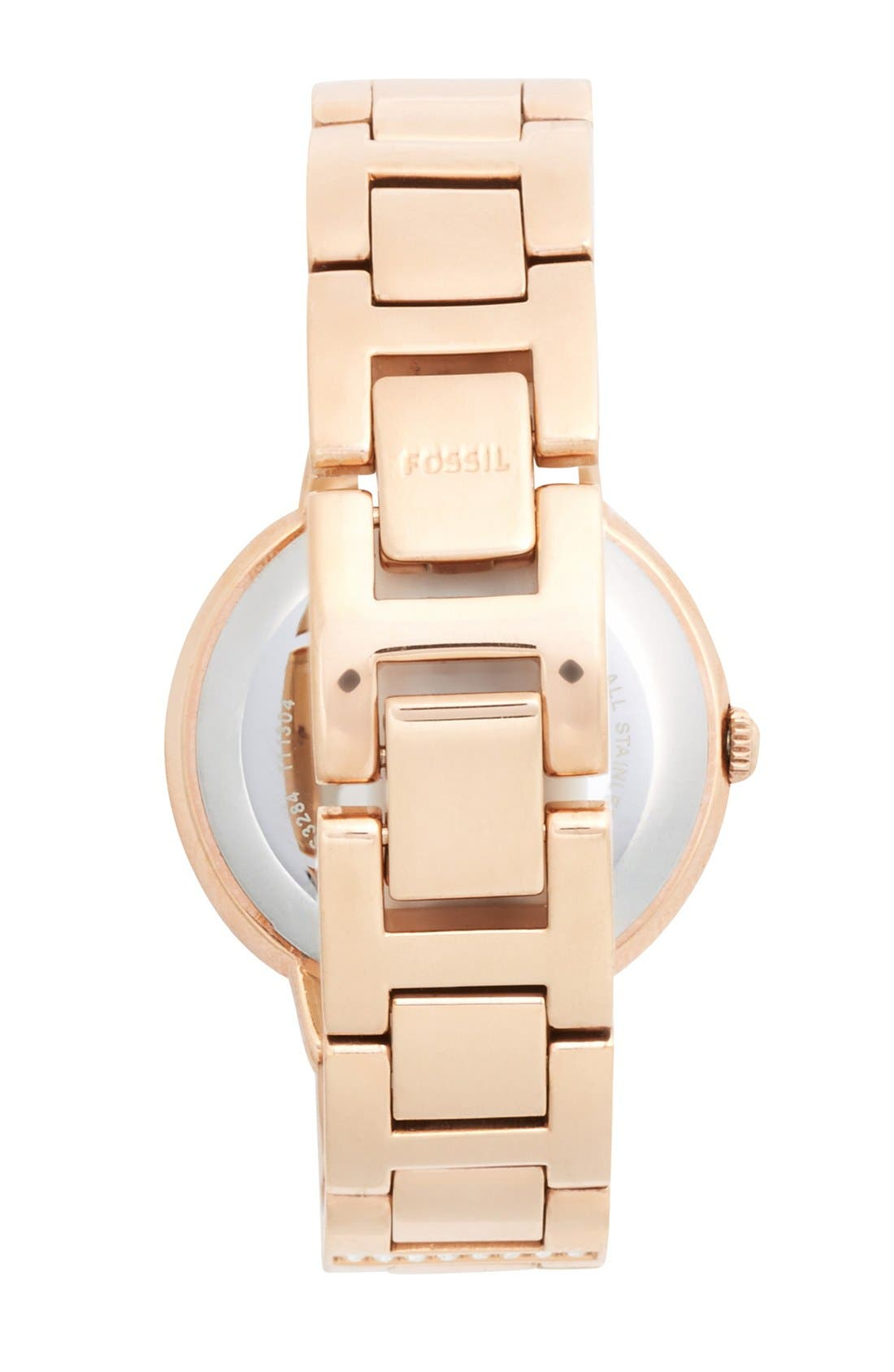 FOSSIL, 'Virginia' Crystal Accent Bracelet Watch, 30mm, Alternate thumbnail 3, color, ROSE GOLD/ WHITE/ ROSE GOLD