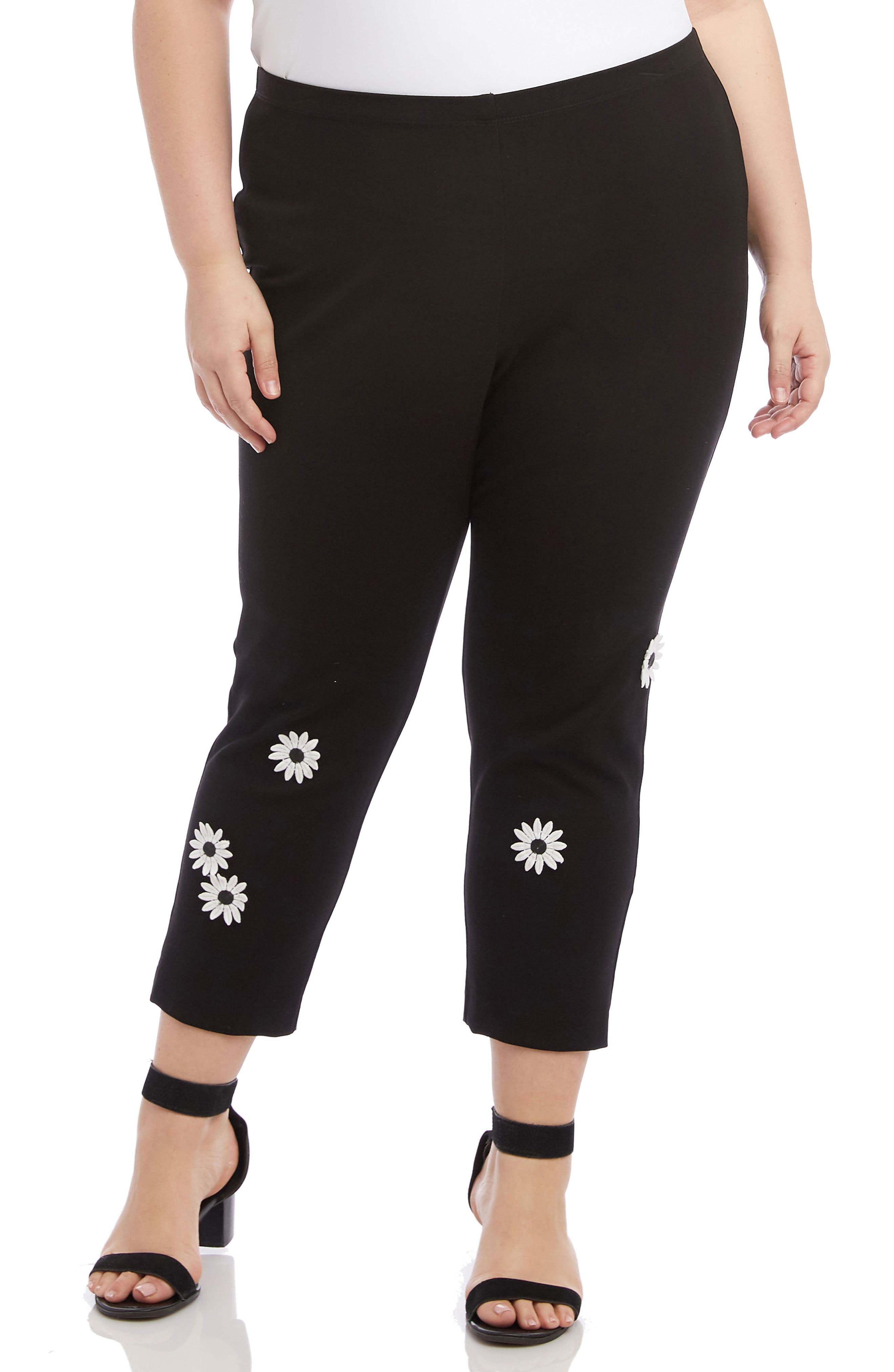 KAREN KANE, Piper Daisy Ankle Pants, Main thumbnail 1, color, BLACK