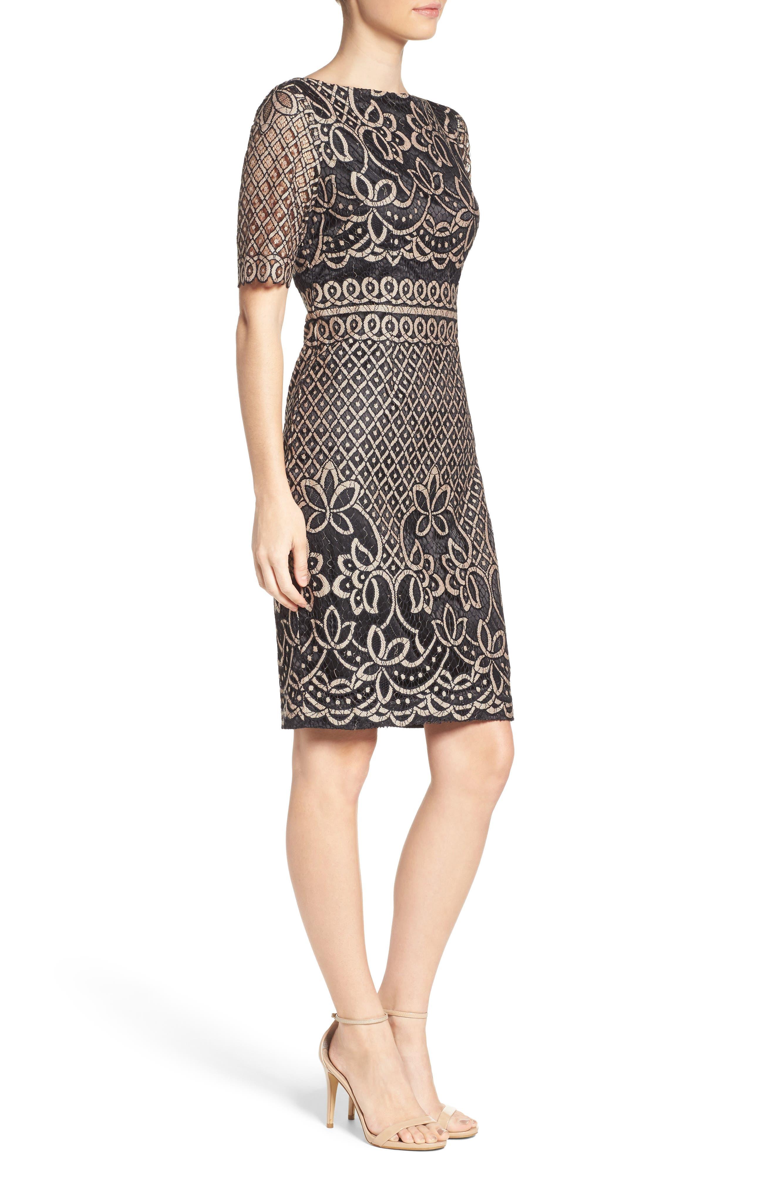 ELIZA J, Lace Sheath Dress, Alternate thumbnail 4, color, 009