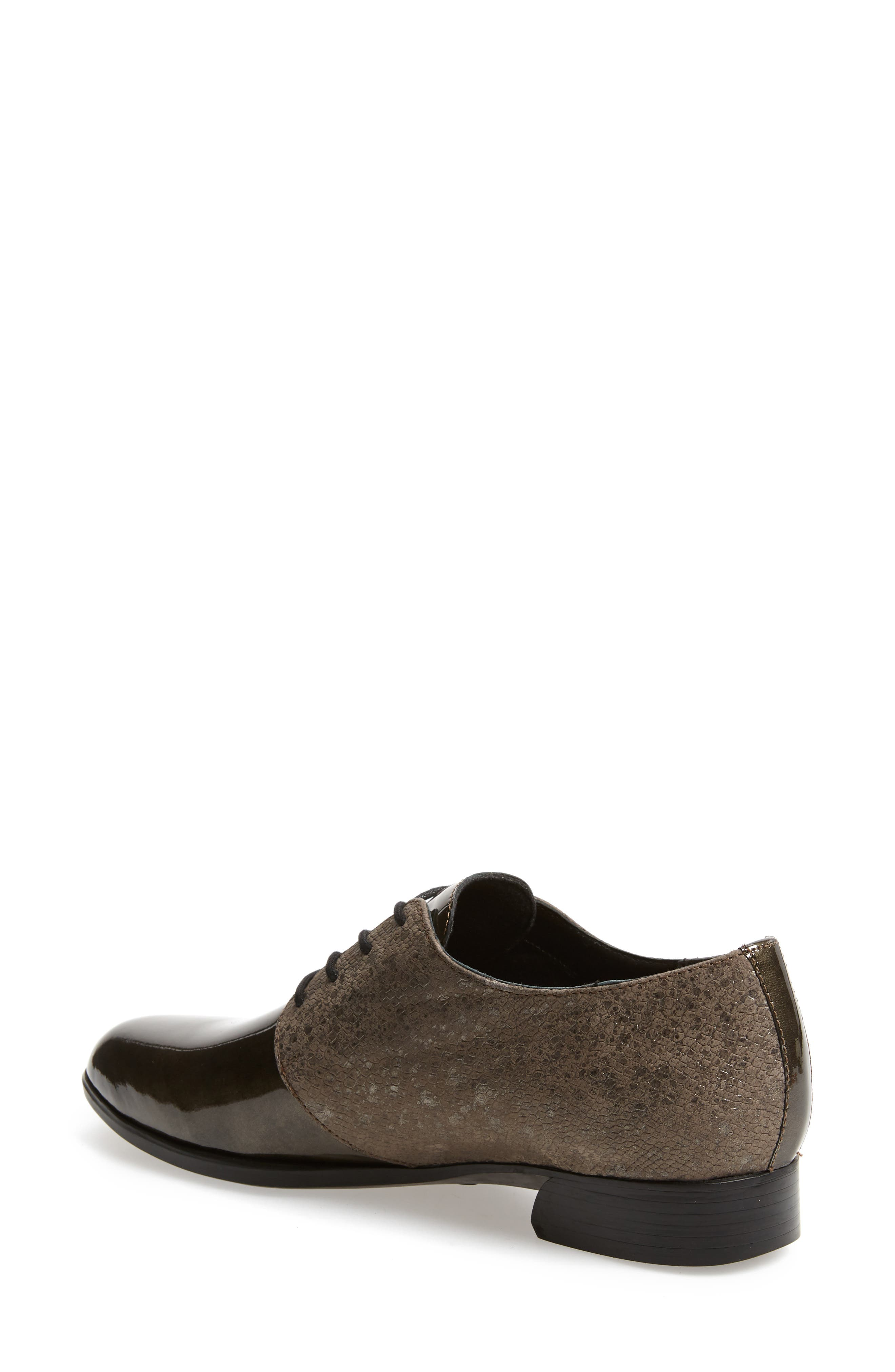MUNRO, Markella Derby, Alternate thumbnail 2, color, GREY PATENT LEATHER