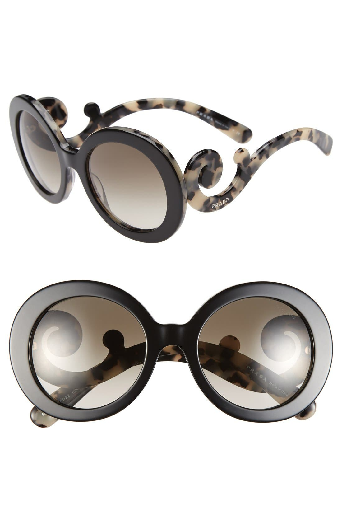 PRADA 'Baroque' 55mm Round Sunglasses, Main, color, 100